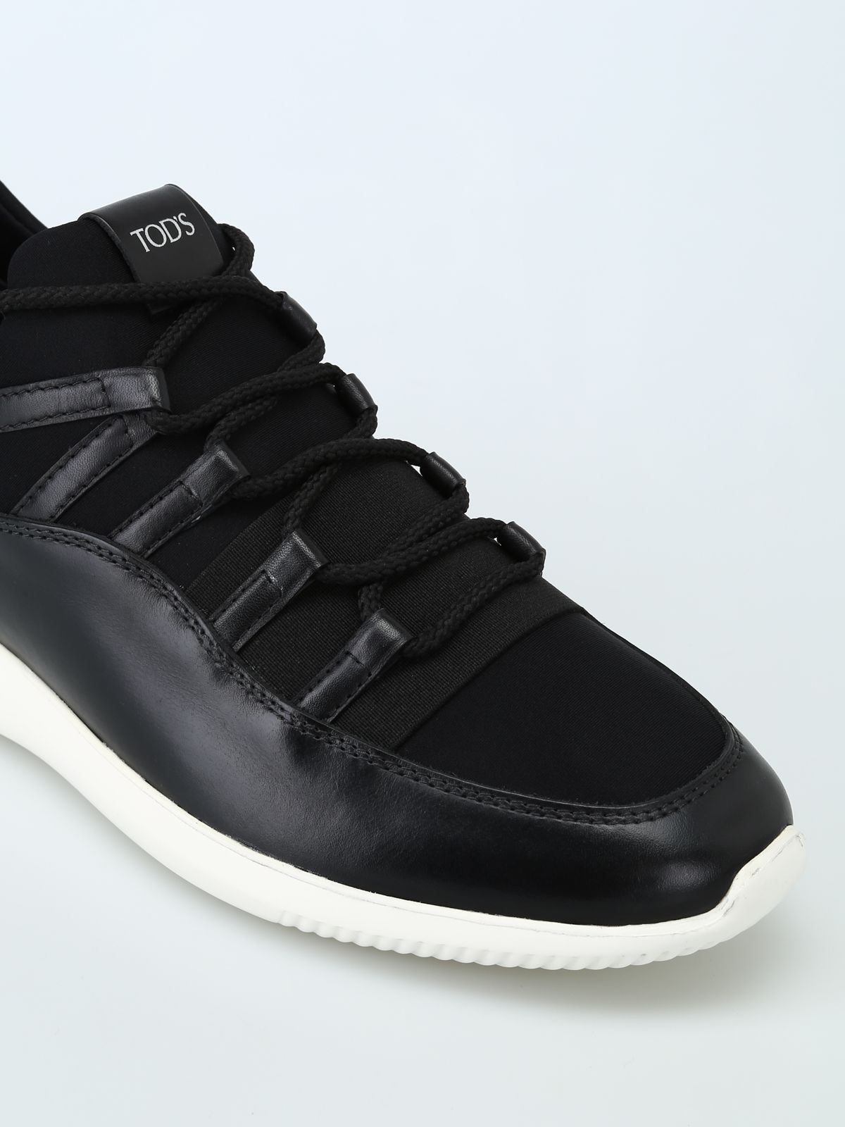 edec427492e039 ... Tod s No-code Sneakers In Leather And Scuba-effect Fabric - Black ...