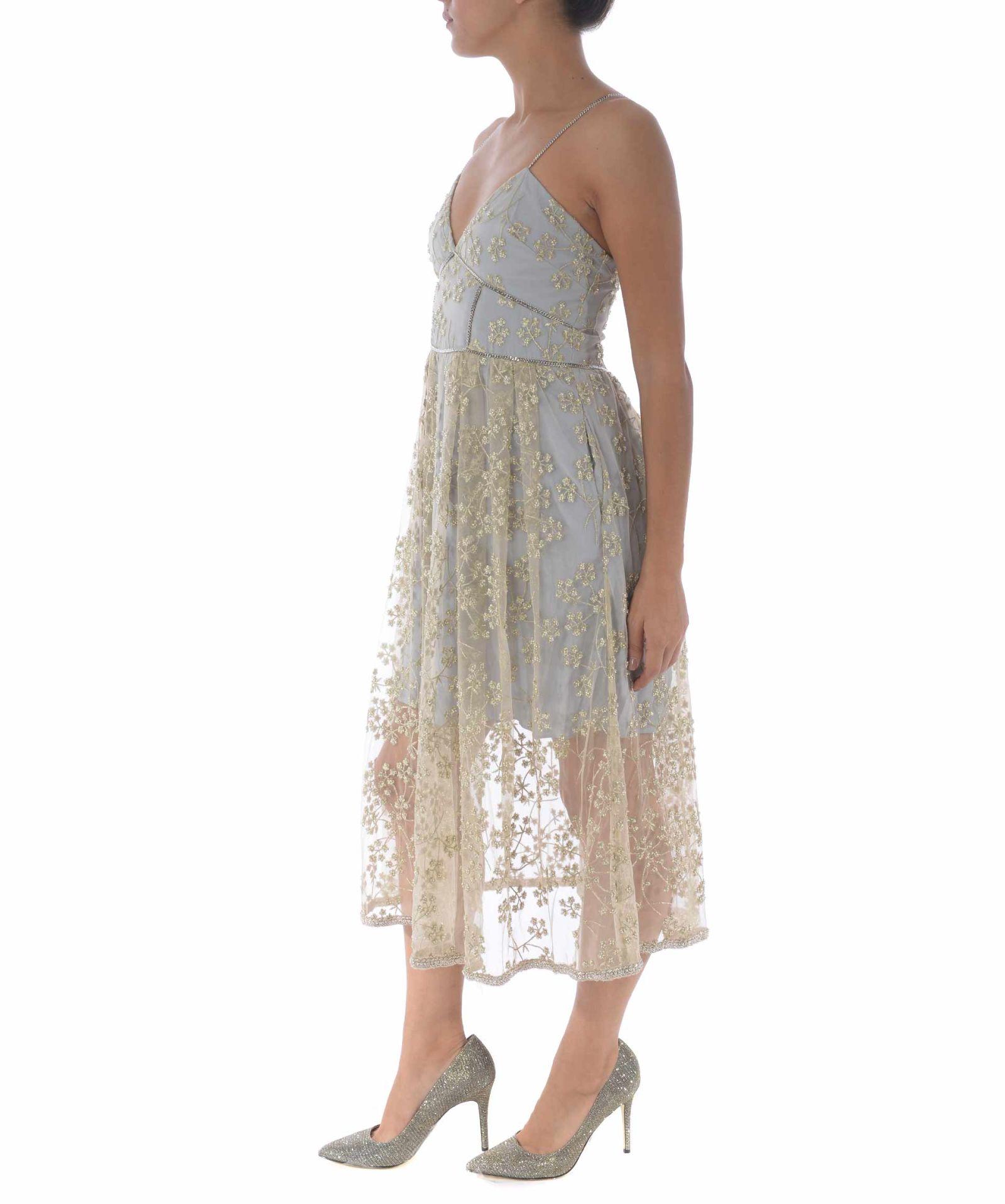 1d4173e6ea37 ... self-portrait Floral Embroidered Mesh Midi Dress - Polvere/oro ...
