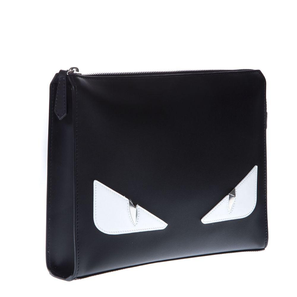 Fendi Fendi Bag Bugs Black Leather Clutch - Black white - 10812809 ... e6fcb101572b7