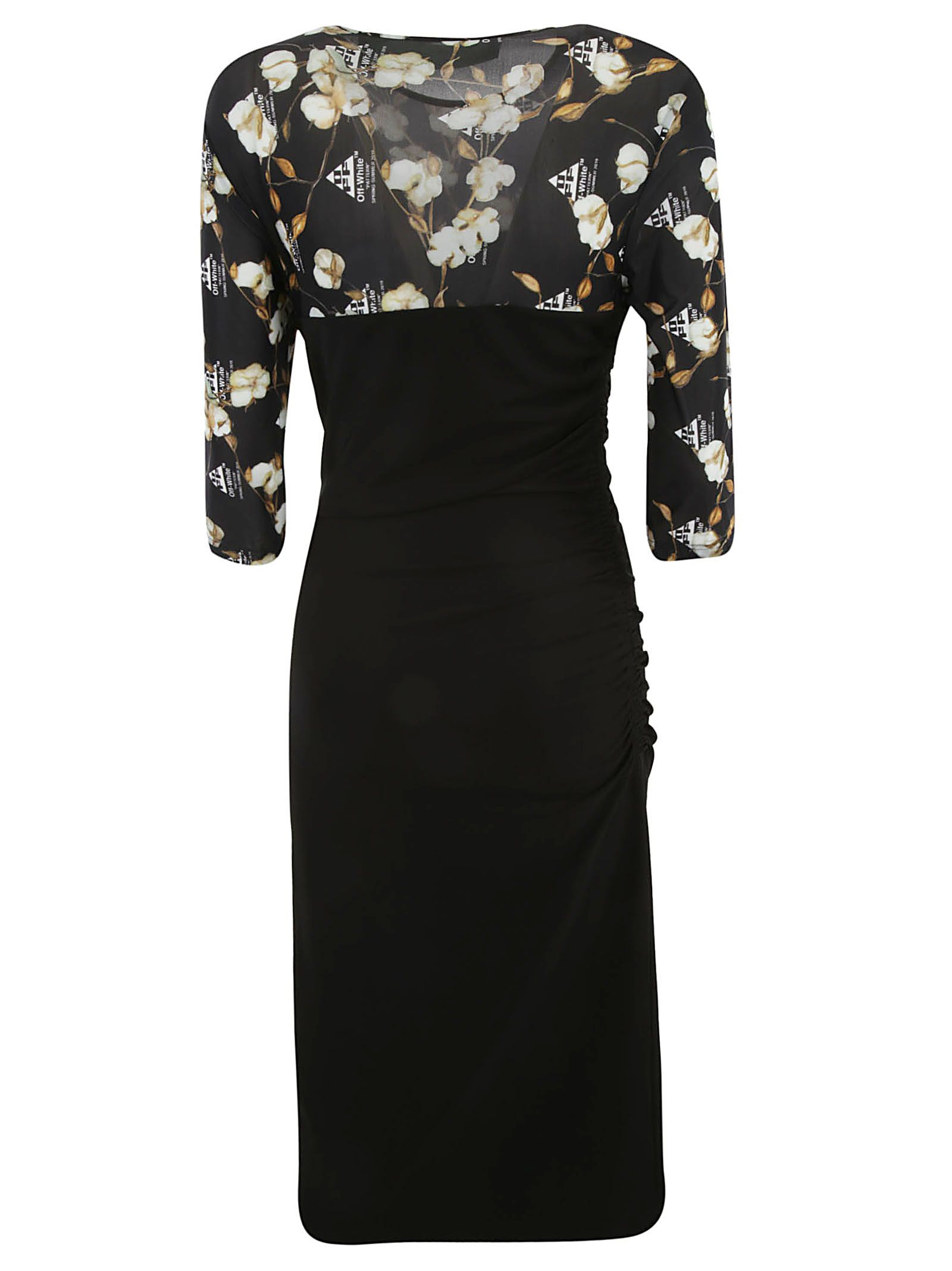 56aac0863d3b Off-White Off-white Flowers Fitted Dress - Black - 10924118