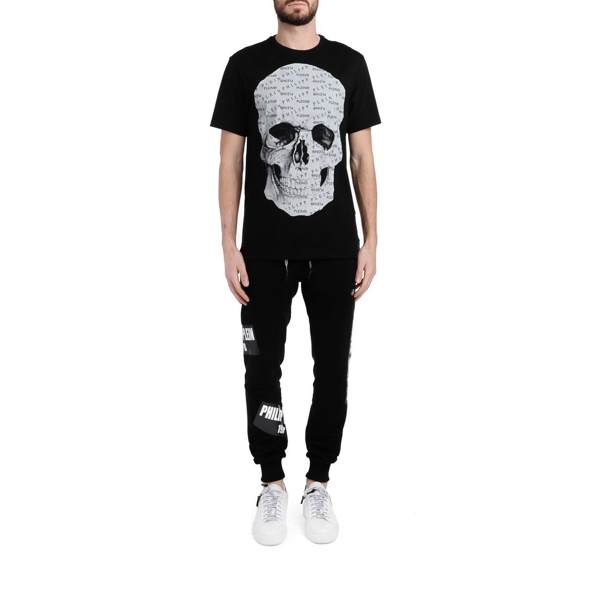 7932294c12 ... Philipp Plein Platinum Cut Black T-shirt With Skull Impression - NERO  ...