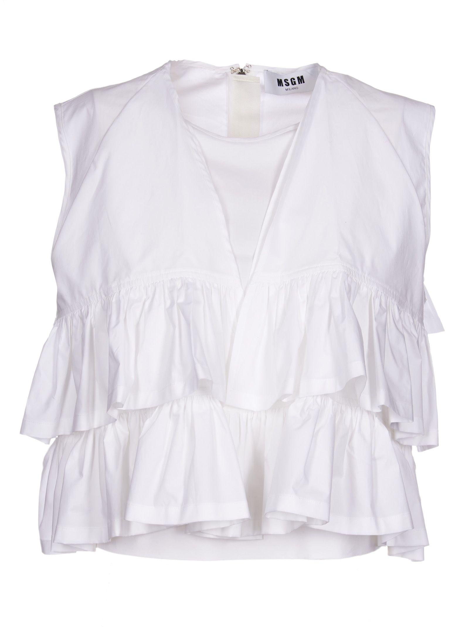 aadebfa7c71 MSGM MSGM Layered Ruffle Cropped Blouse - White - 10532850 | italist