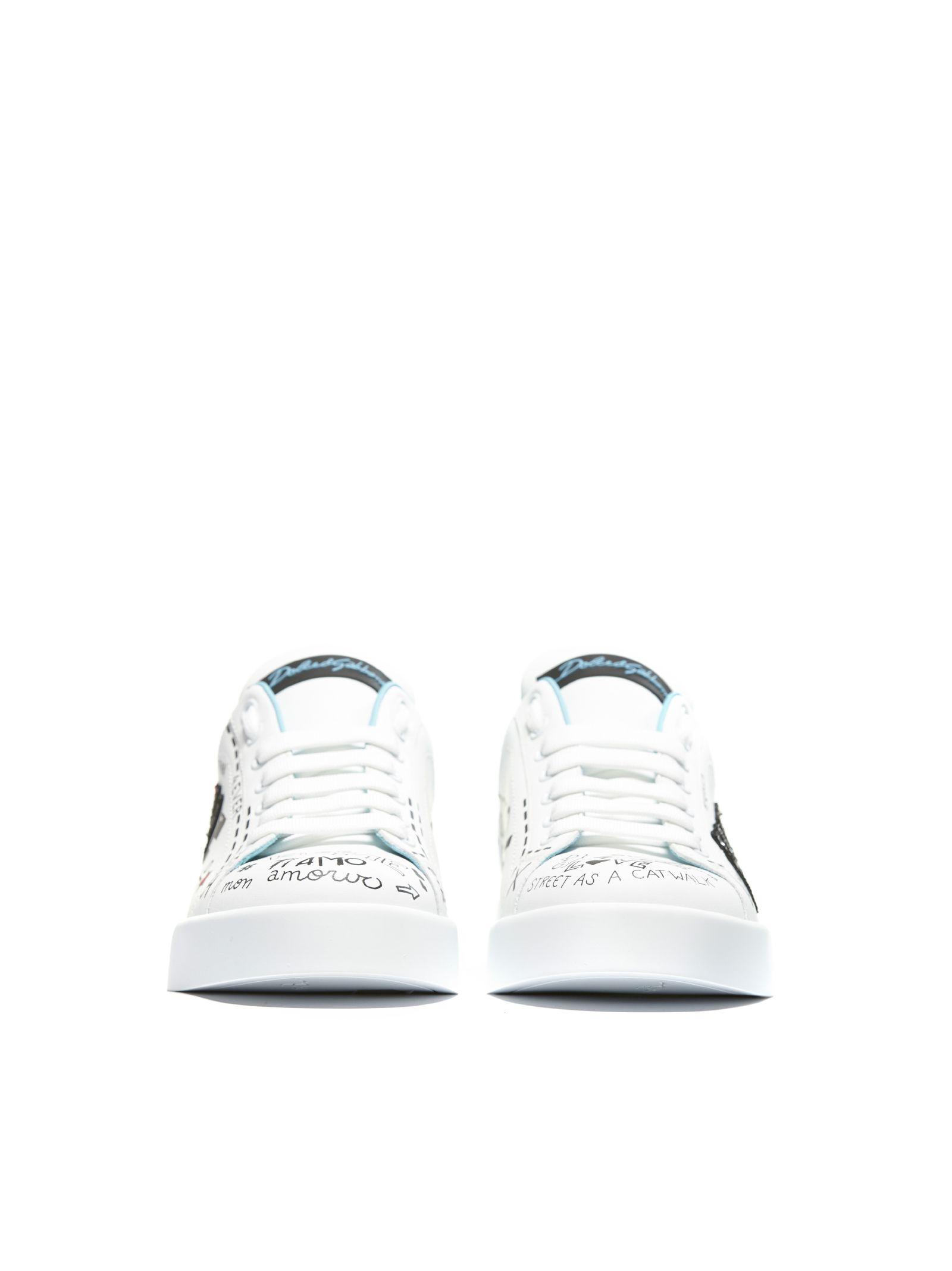 Dolce gabbana love graffiti logo sneakers bianco multicolor