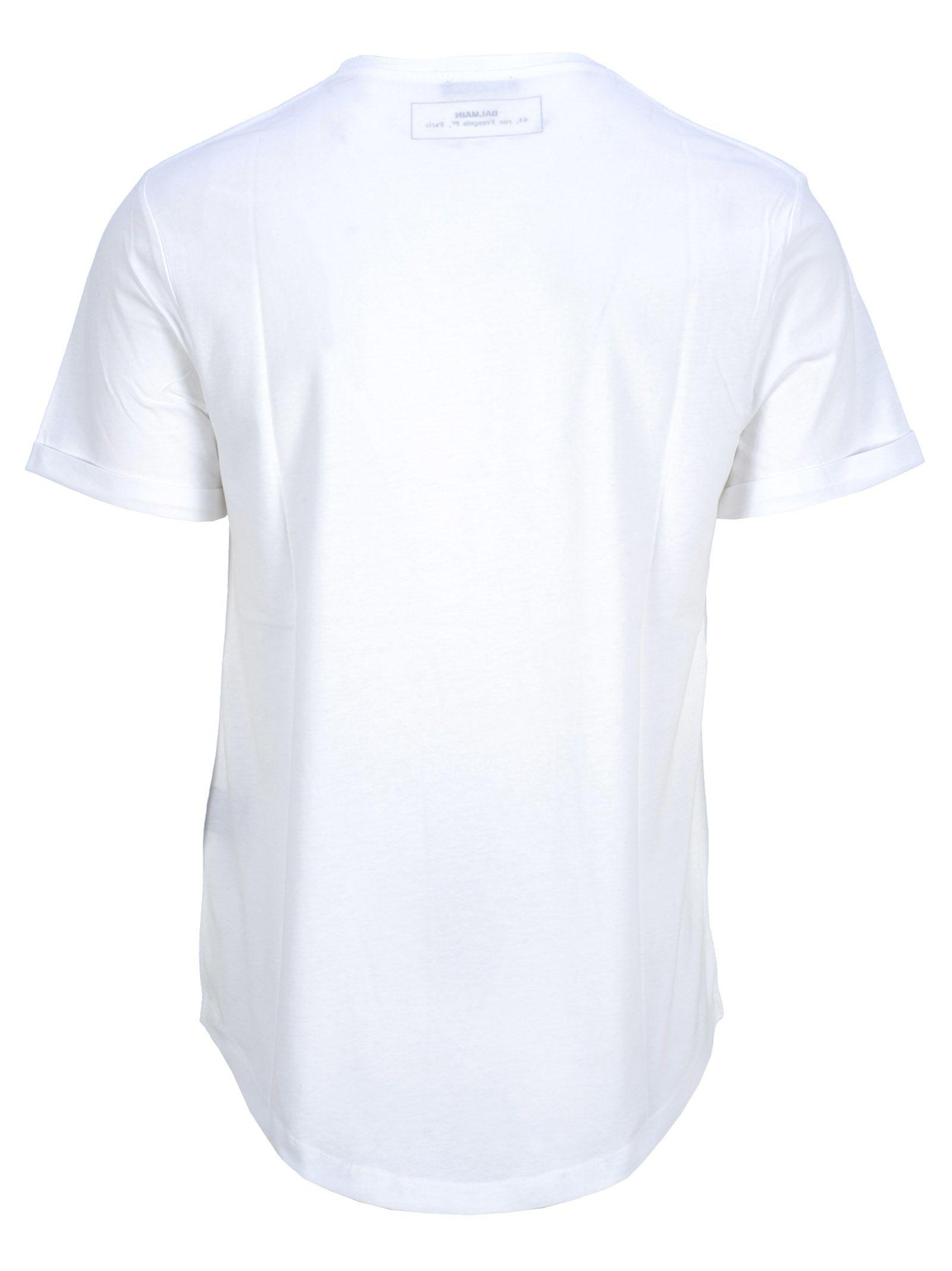 ea0f46c9a93c57 Balmain Balmain Balmain Round Logo Printed T-shirt - WHITE + SILVER ...