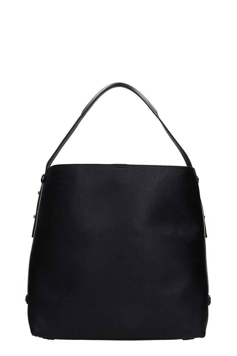 ccebfec0413f ... Michael Kors Black Grained Leather Hobo Bag - black