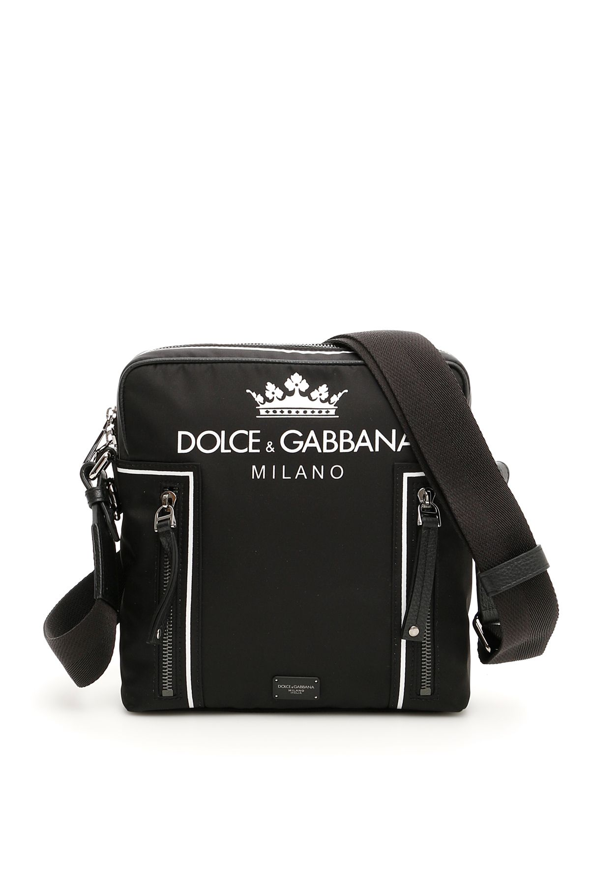 a59e9aa450ae Dolce   Gabbana Nylon Messenger Bag With Crown And Logo - DG MILANO FONDO  NERO