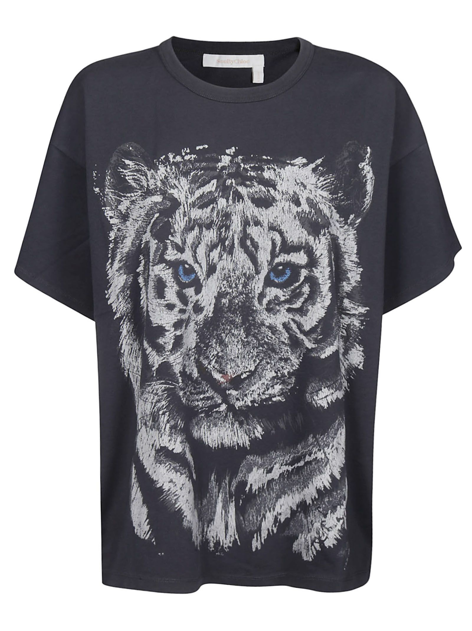 ecb6a65ed See by Chloé See By Chloé Tiger Print Oversized T-shirt - Gray ...