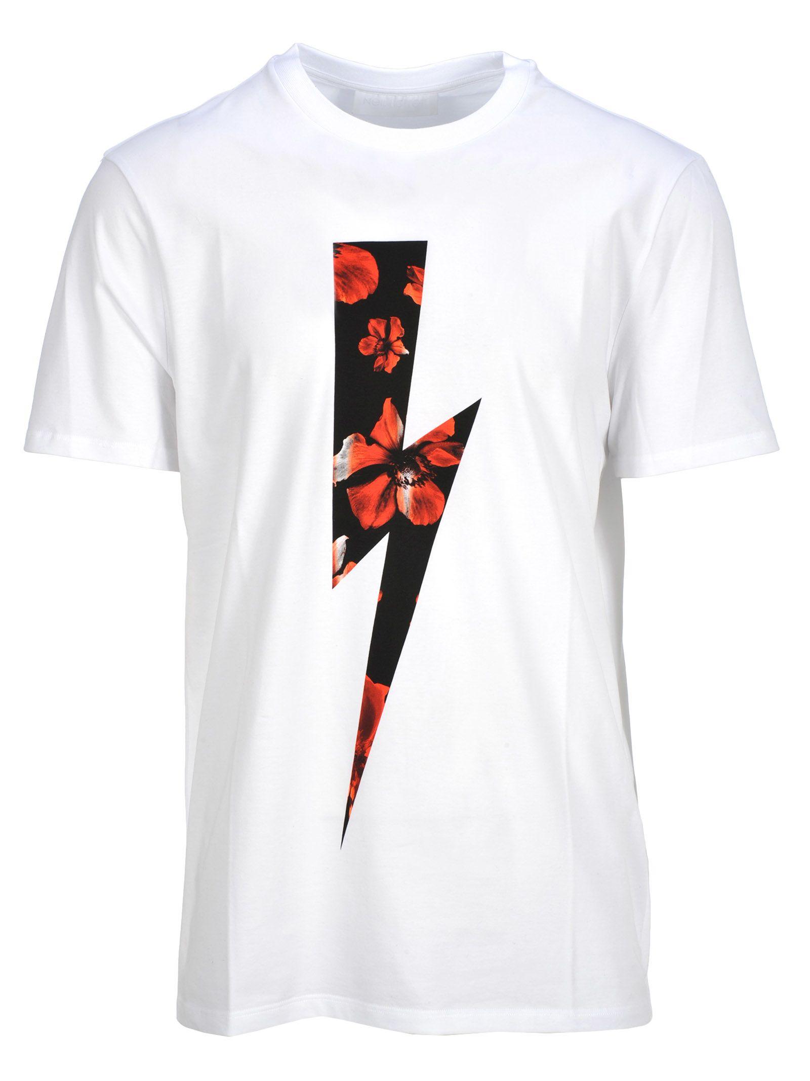0ad87d50 Neil Barrett Neil Barrett Neil Barrett Floral Lightning Bolt T-shirt ...