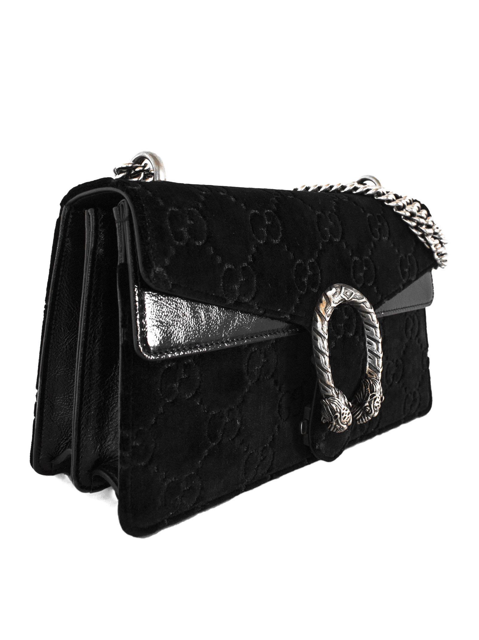 e13d3d12e43 Gucci Gucci Black Dionysus Gg Velvet Small Shoulder Bag - Nero ...