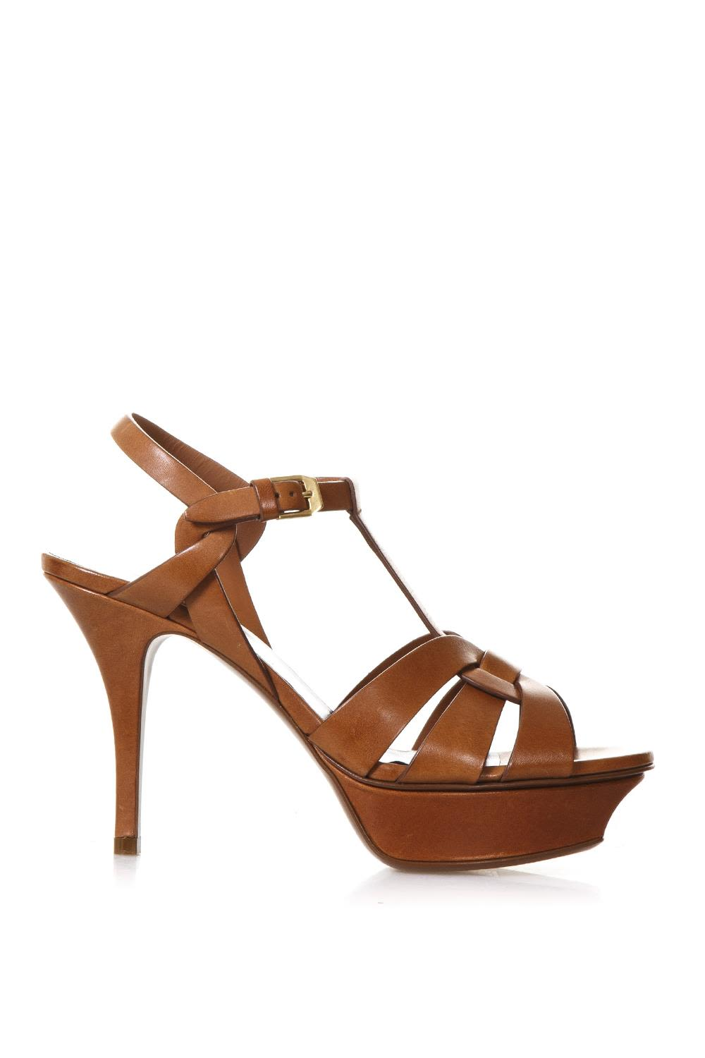 a07205ae6ff9 Saint Laurent 105mm Tribute Leather Sandals - Amber ...