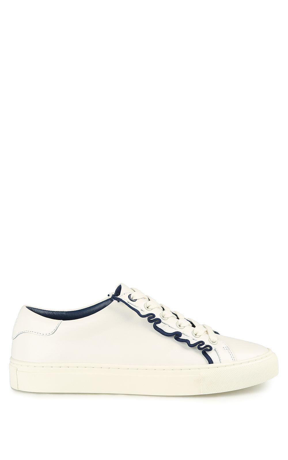 b5230c0b3013 Tory Burch Tory Burch Tory Sport Ruffle-tim Leather Sneakers - White ...