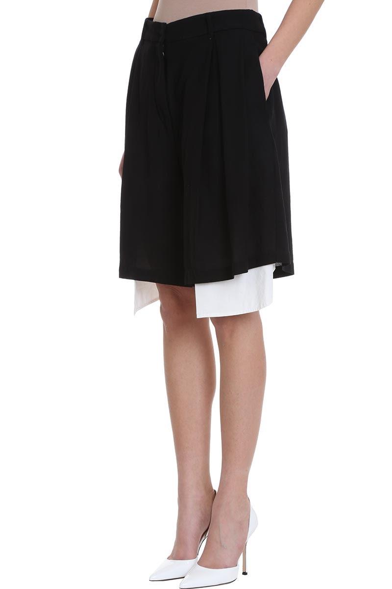 050123079 Maison Flaneur Maison Flaneur Asymmetric White Black Cotton Skirt ...