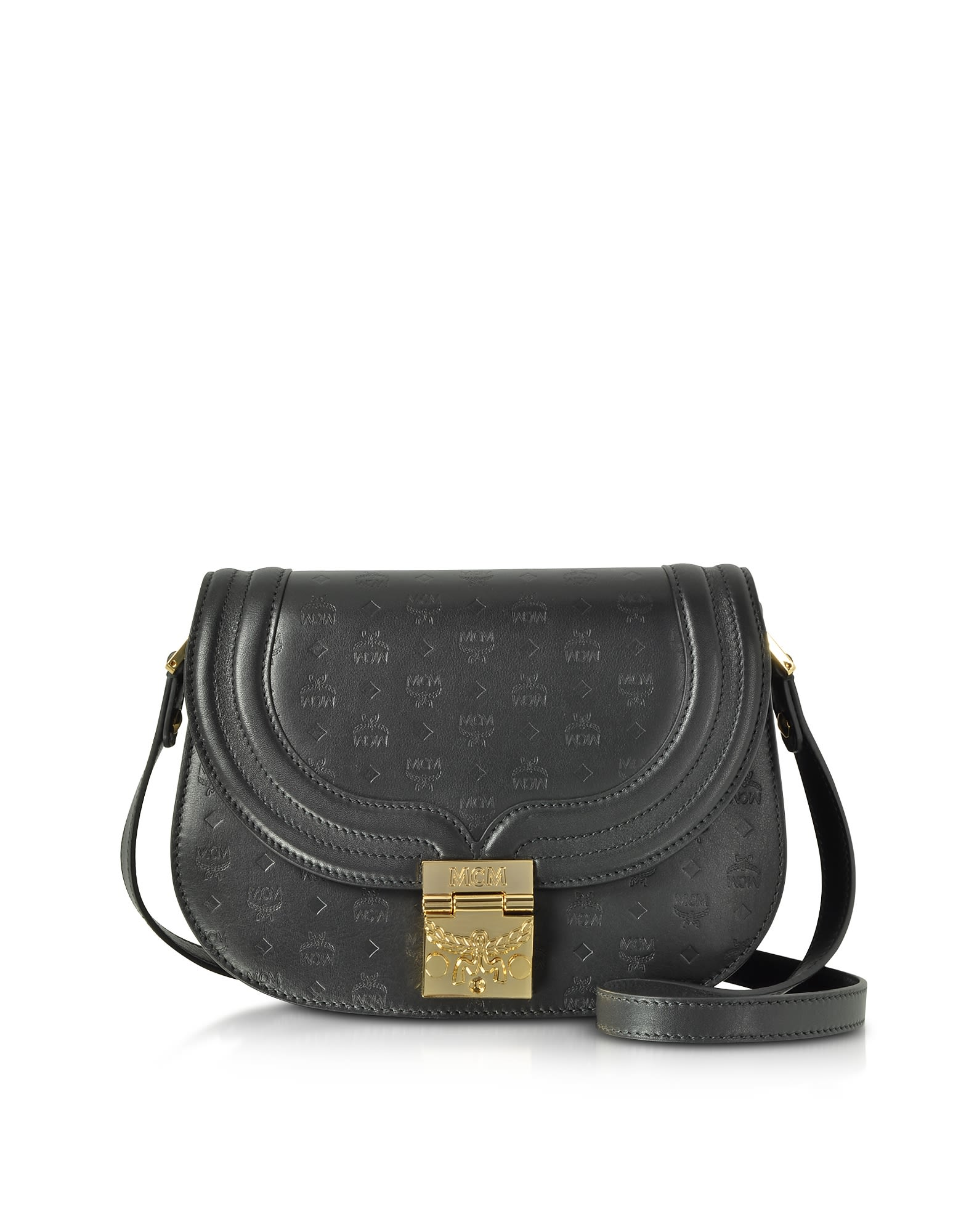 2e7db786f9 MCM Mcm Trisha Black Monogrammed Leather Small Shoulder Bag - Black ...
