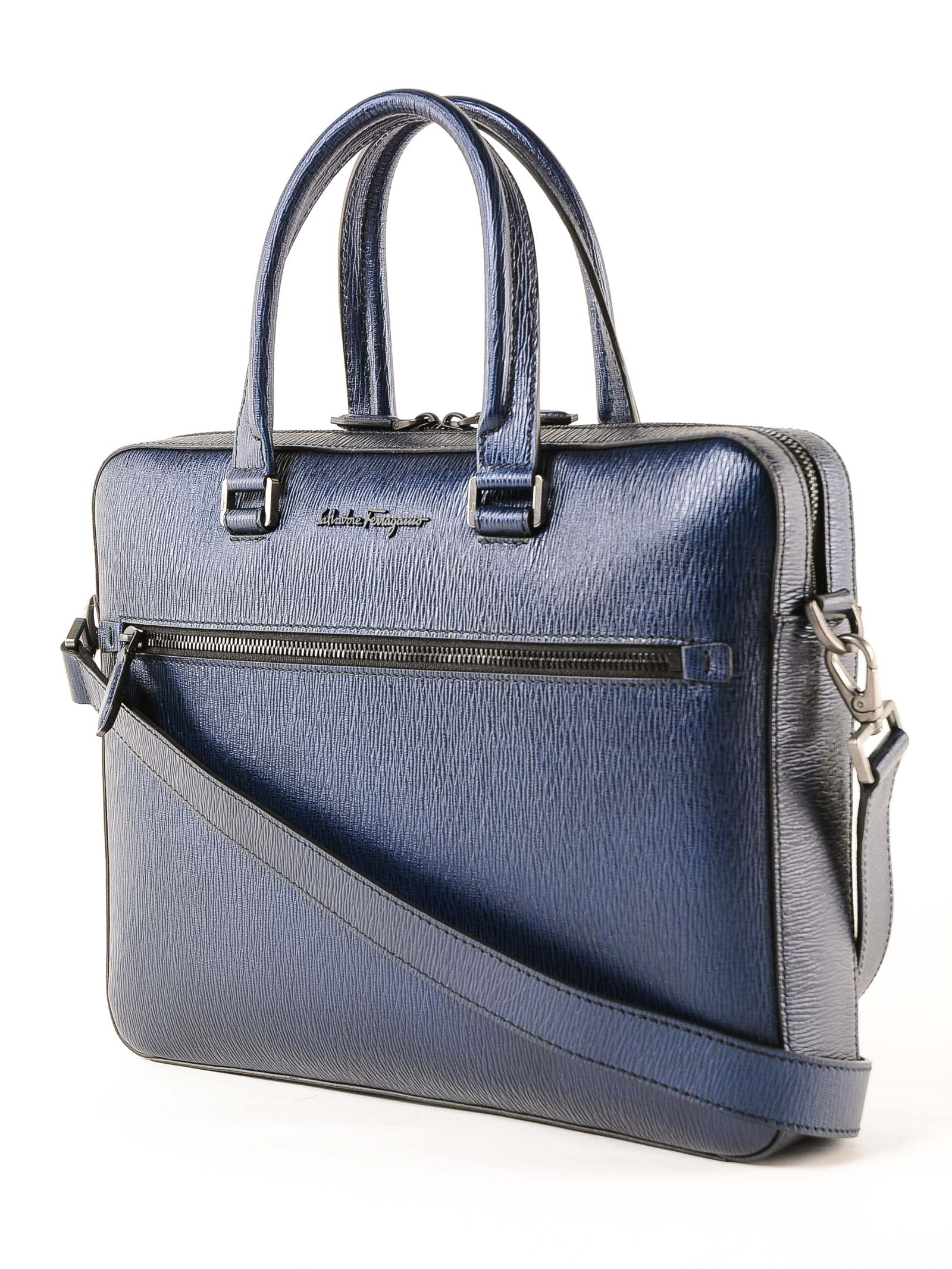 6a5049b526 Salvatore Ferragamo Revival Metal Briefcase - Blue Salvatore Ferragamo  Revival Metal Briefcase - Blue ...