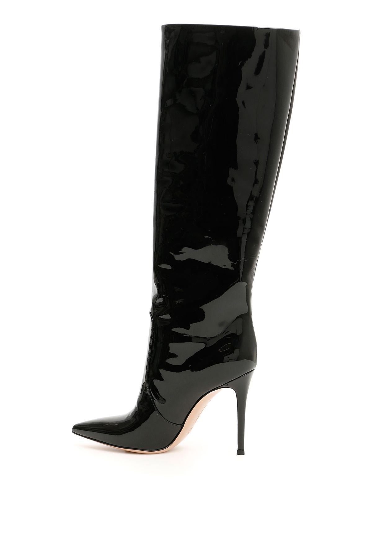 9037a8114ef8 Gianvito Rossi Gianvito Rossi Patent Heather Boots 105 - BLACK