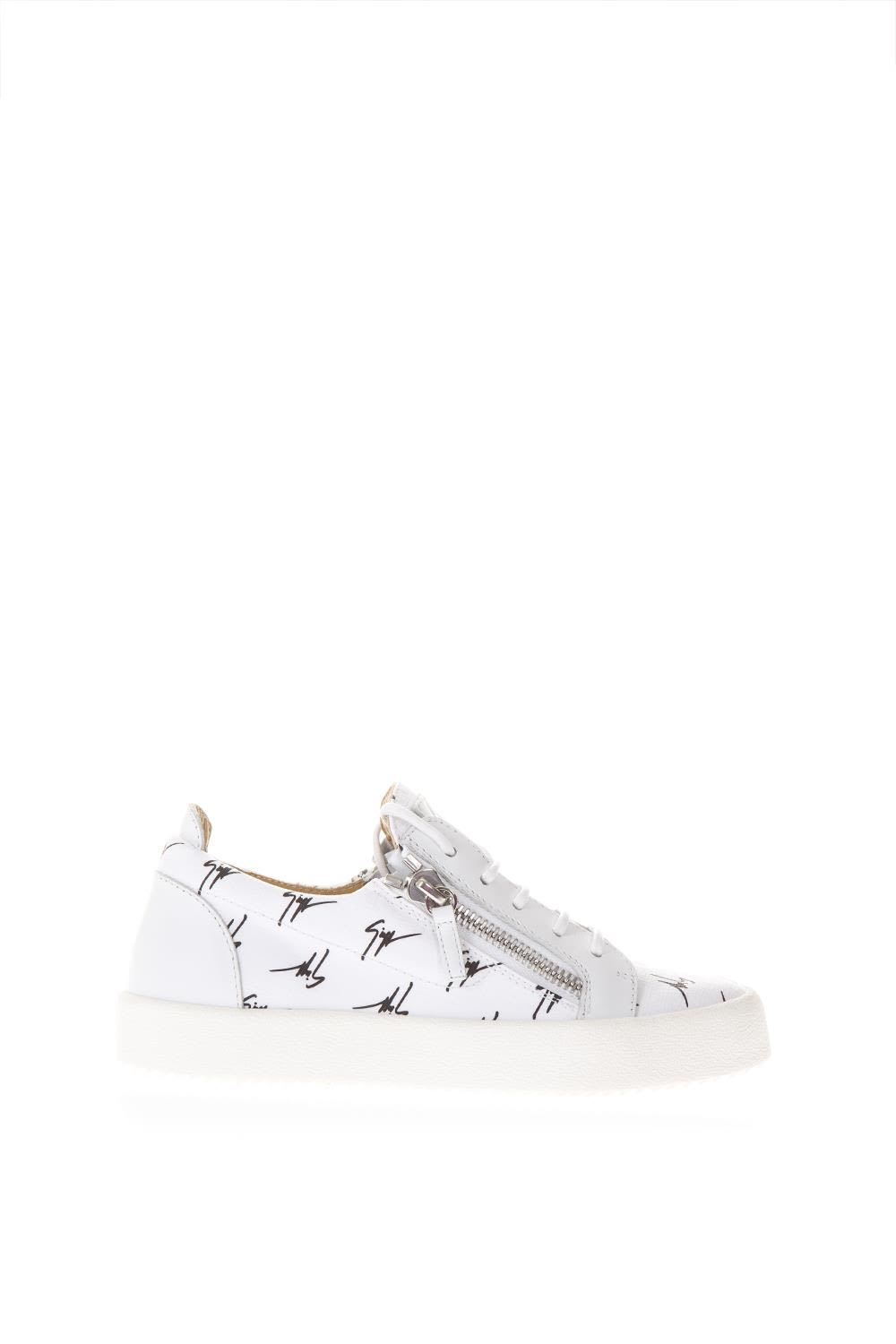 c6d7e923782bd Giuseppe Zanotti White Leather Sneakers With Logo All Over - White ...