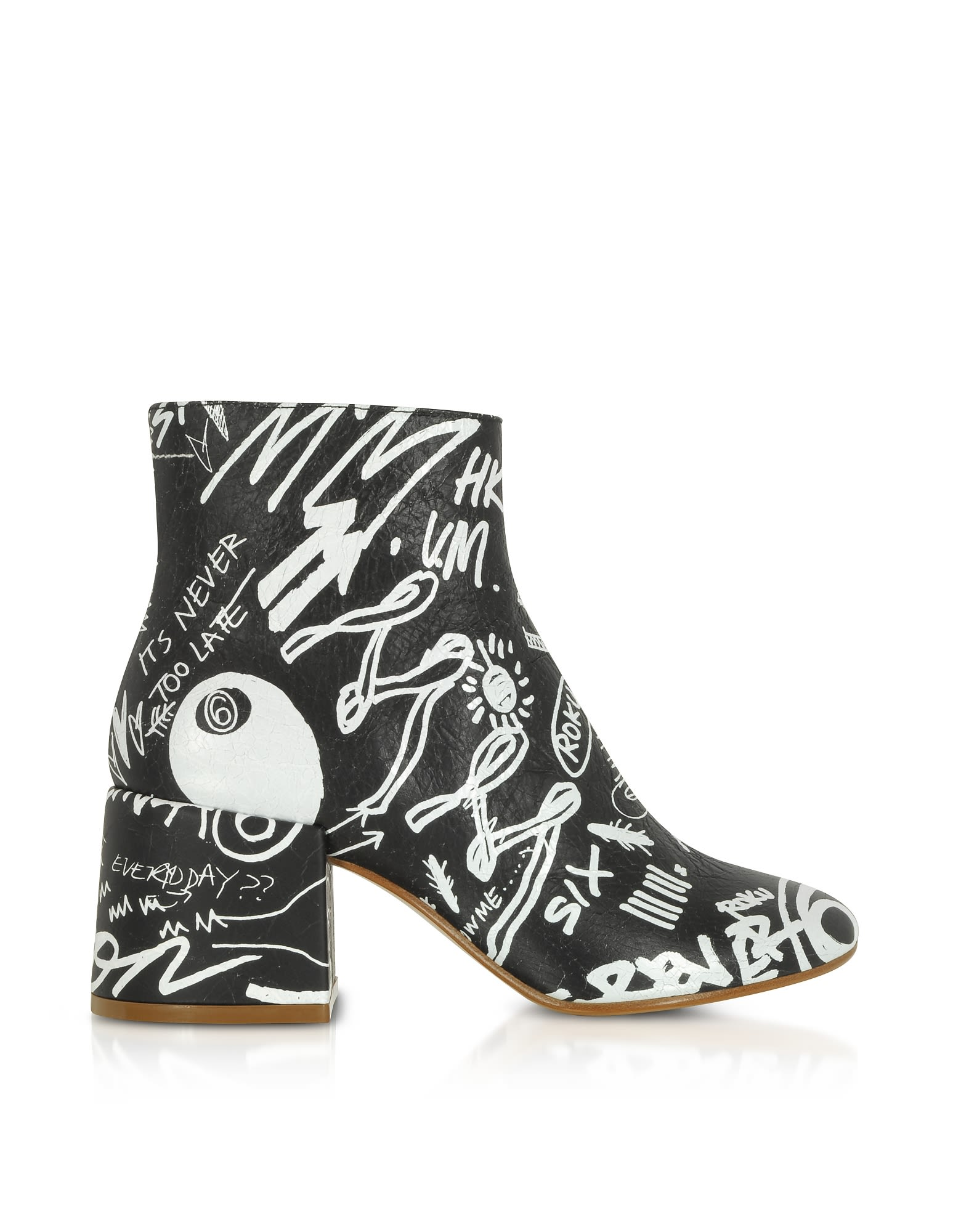 756b2893ba3c MM6 Maison Margiela Mm6 Maison Martin Margiela Black Crackled Graffiti  Printed Leather Heel Boots - Black ...