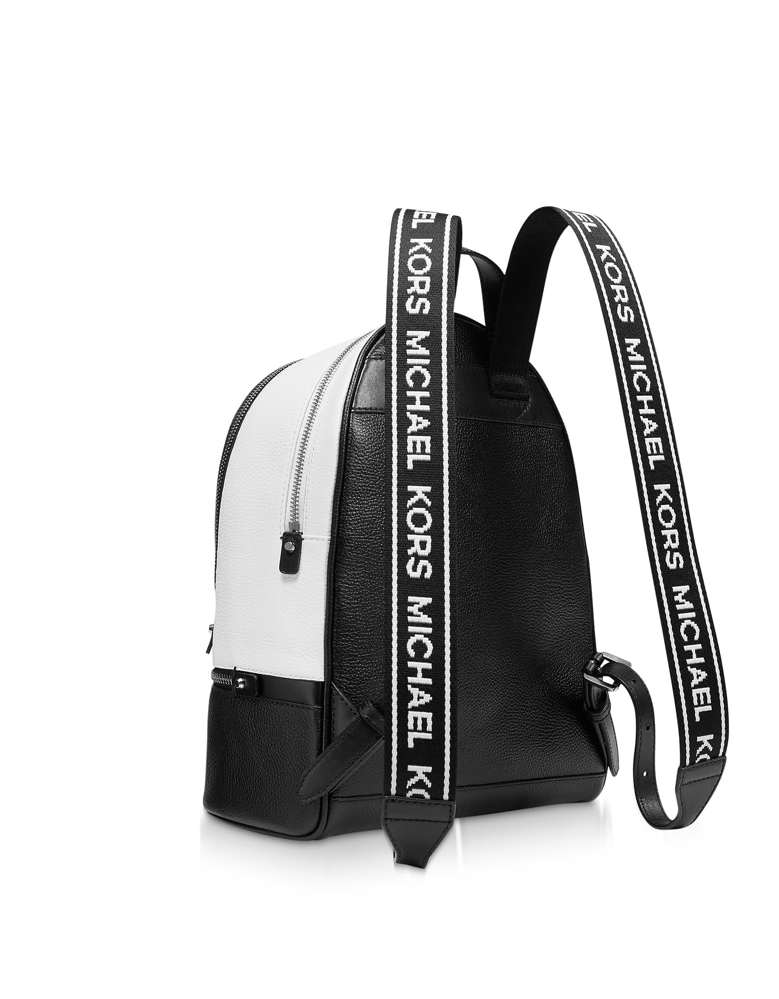 88d525eda33e ... Michael Kors Black And White Rhea Zip Medium Backpack - Black / White  ...
