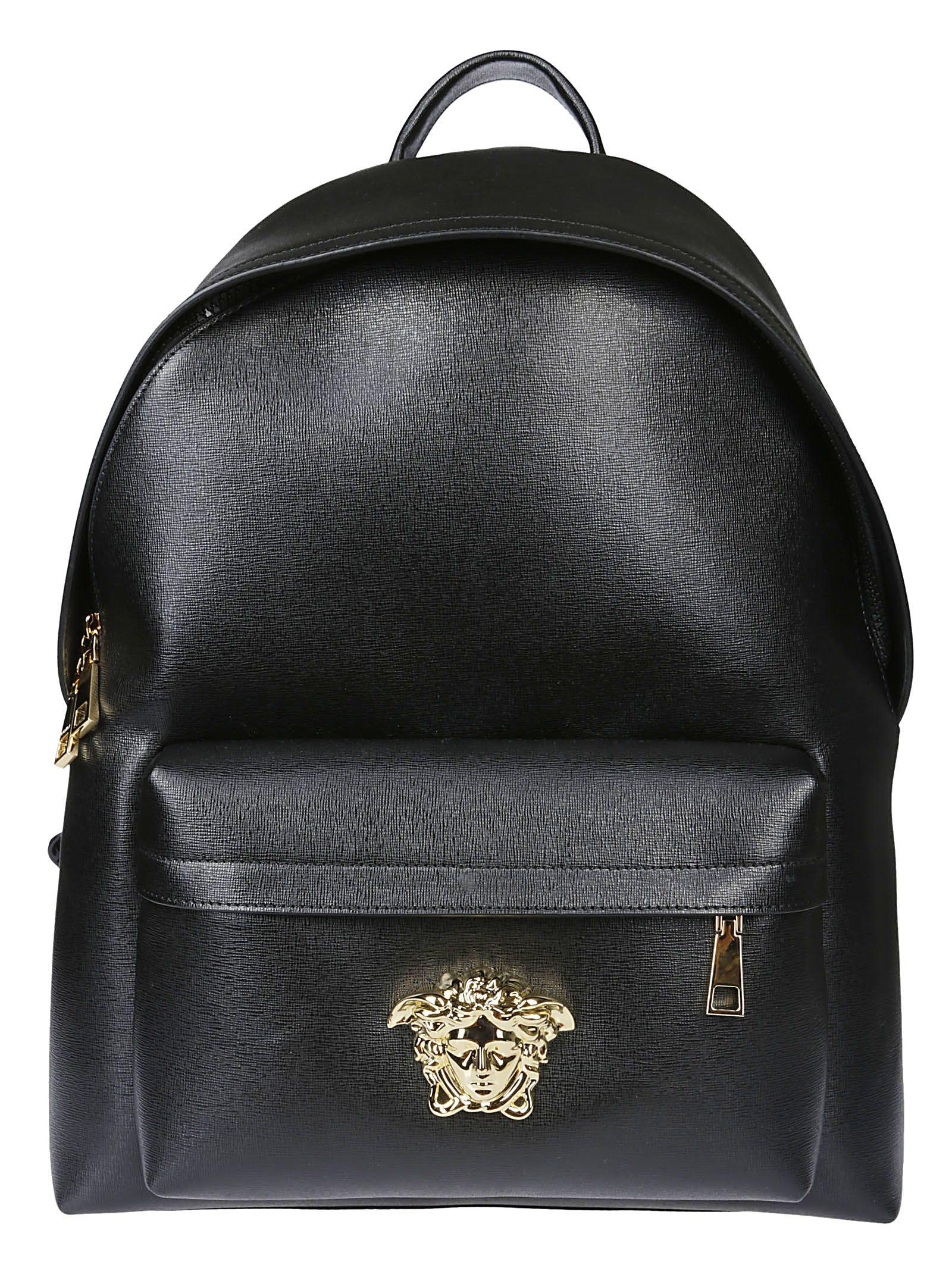 b672af081616 Versace Versace Medusa Logo Plaque Backpack - Black - 10813667