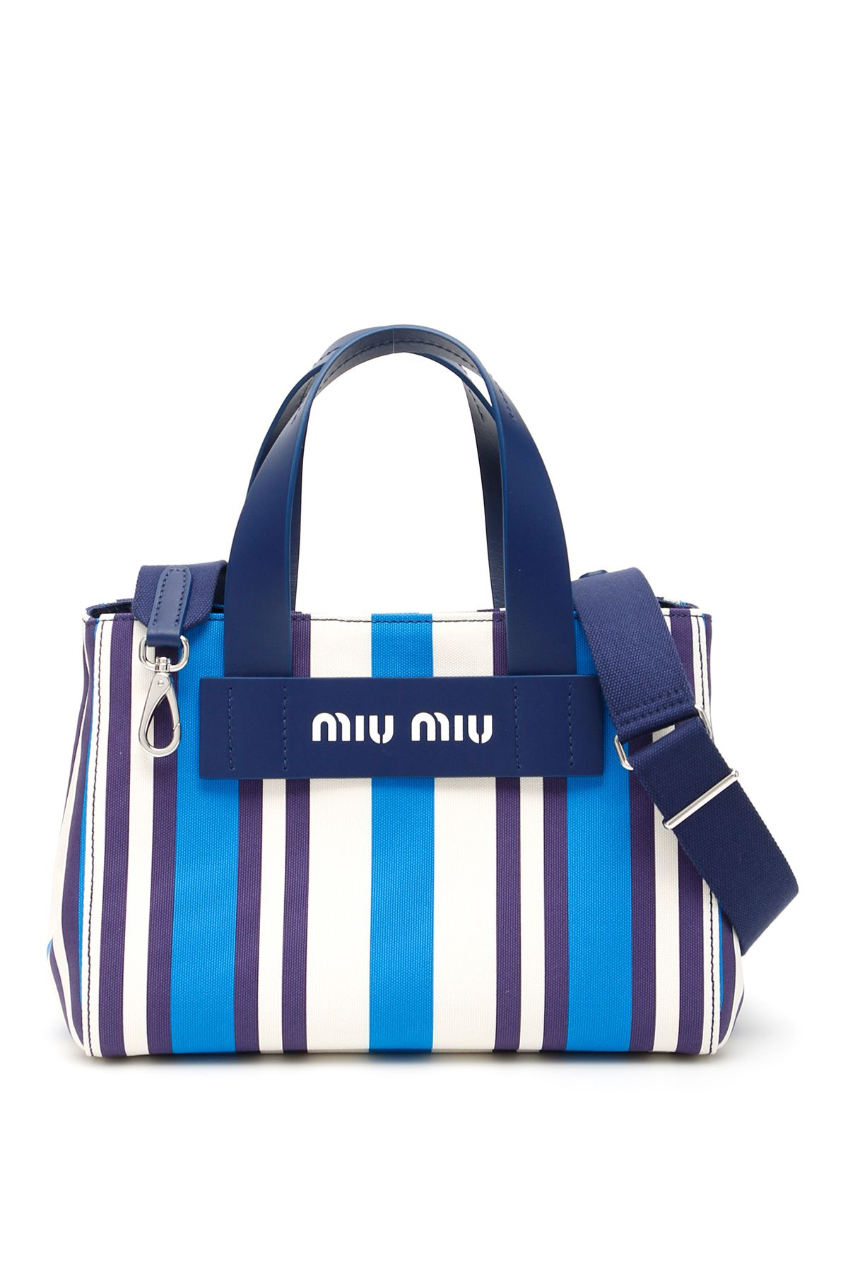 4bad71bb07de Miu Miu Miu Miu Small Multicolor Striped Shopper - TURCHESE