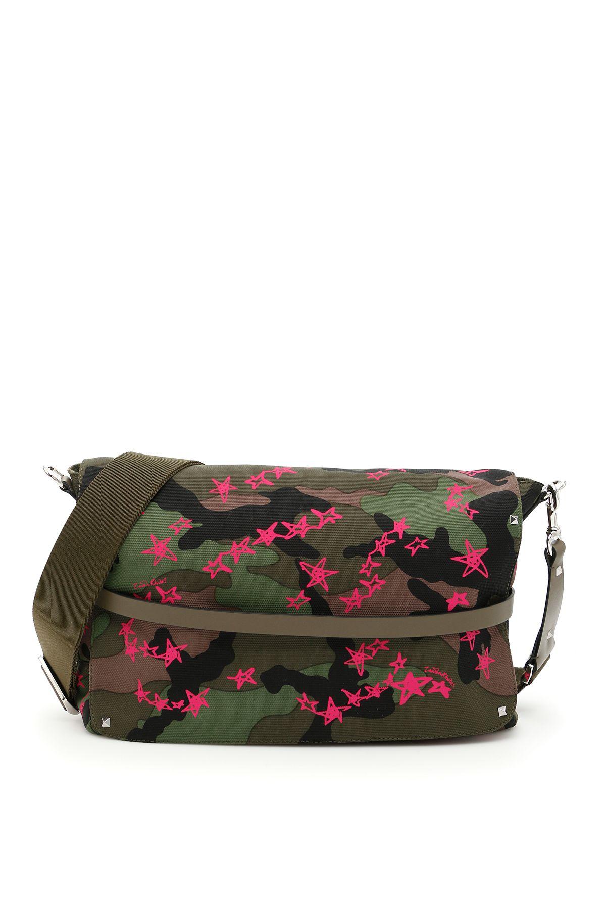 Valentino Shoulder Valentino Camouflage Canvas Messenger Bag