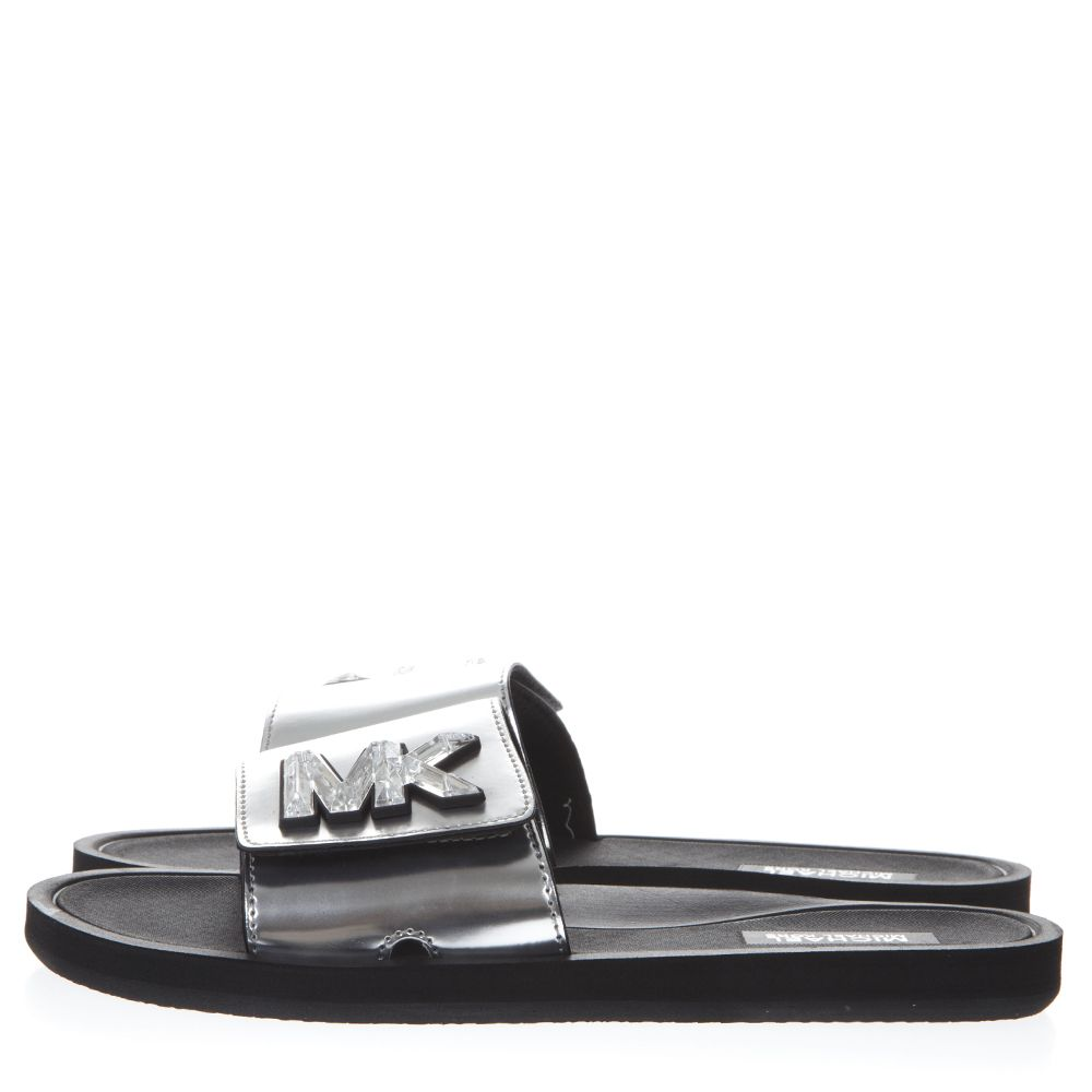 67f129bfa7dd ... MICHAEL Michael Kors Metallic Silver Leather Slides With Mk Logo -  Silver