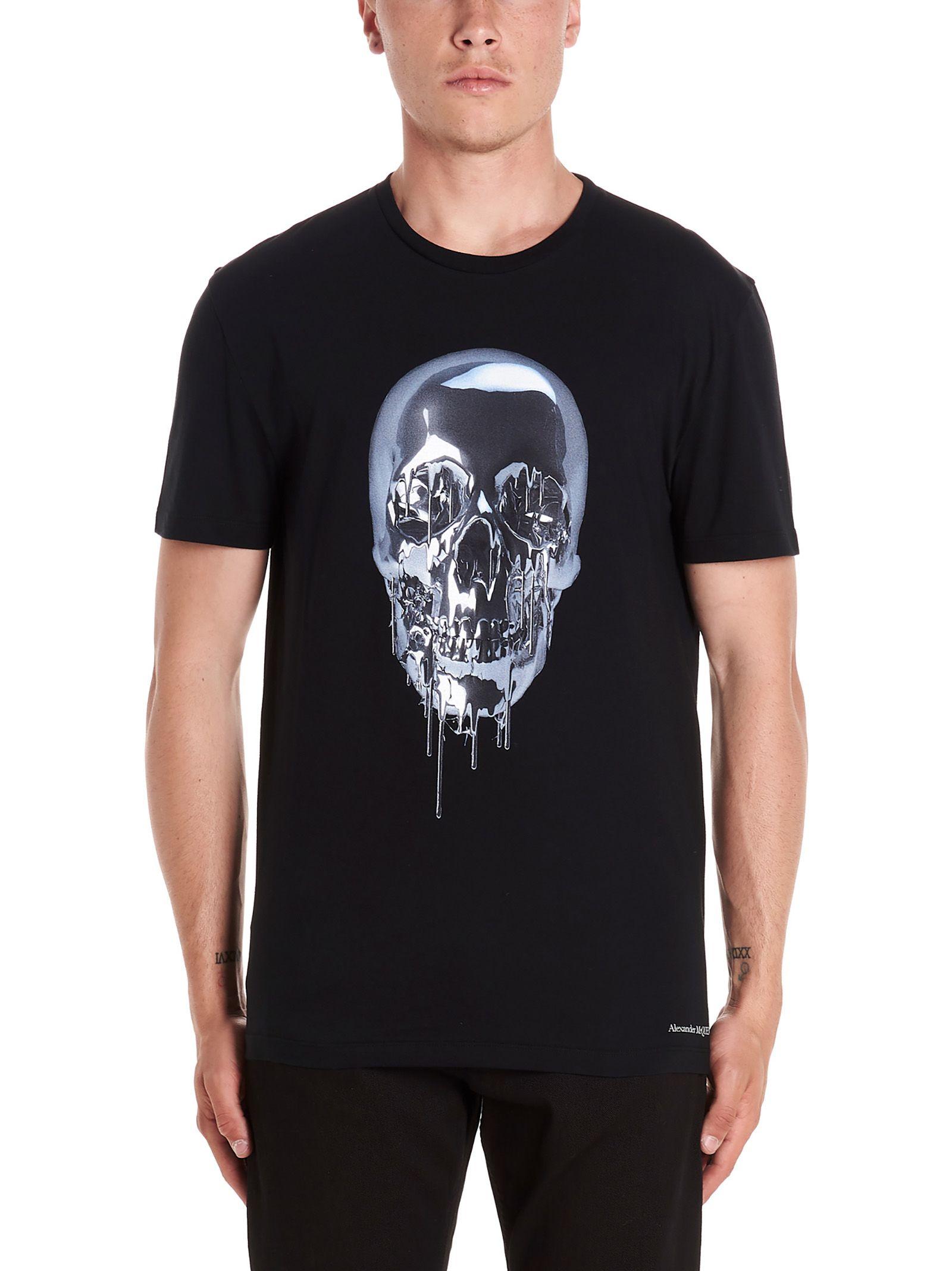 edfdaffe Alexander McQueen Alexander Mcqueen 'metallic Skull' T-shirt - Black ...