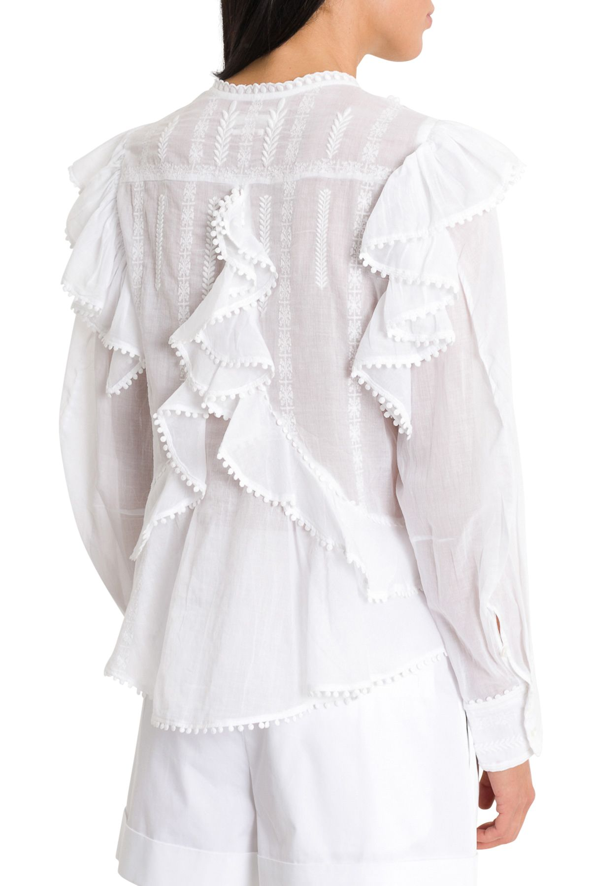 6d163643ebf ... Isabel Marant Étoile Alea Shirt With Furrles And Embroideries - Bianco