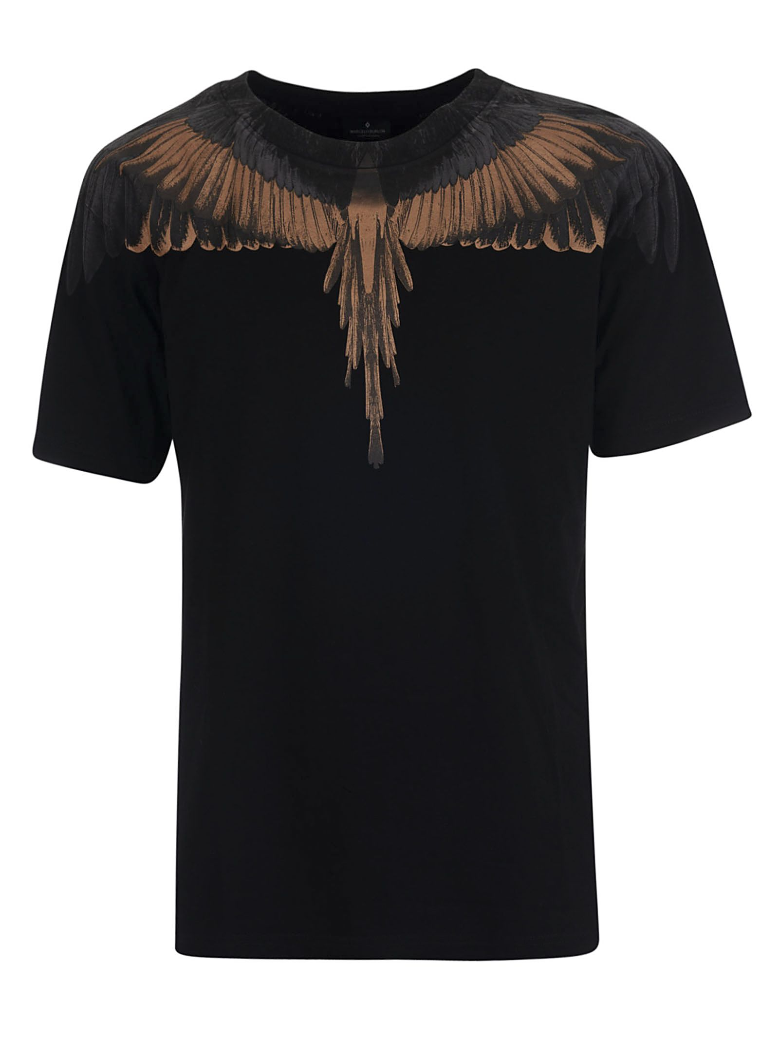 Marcelo Burlon Marcelo Burlon Wings Print T Shirt Black Gold