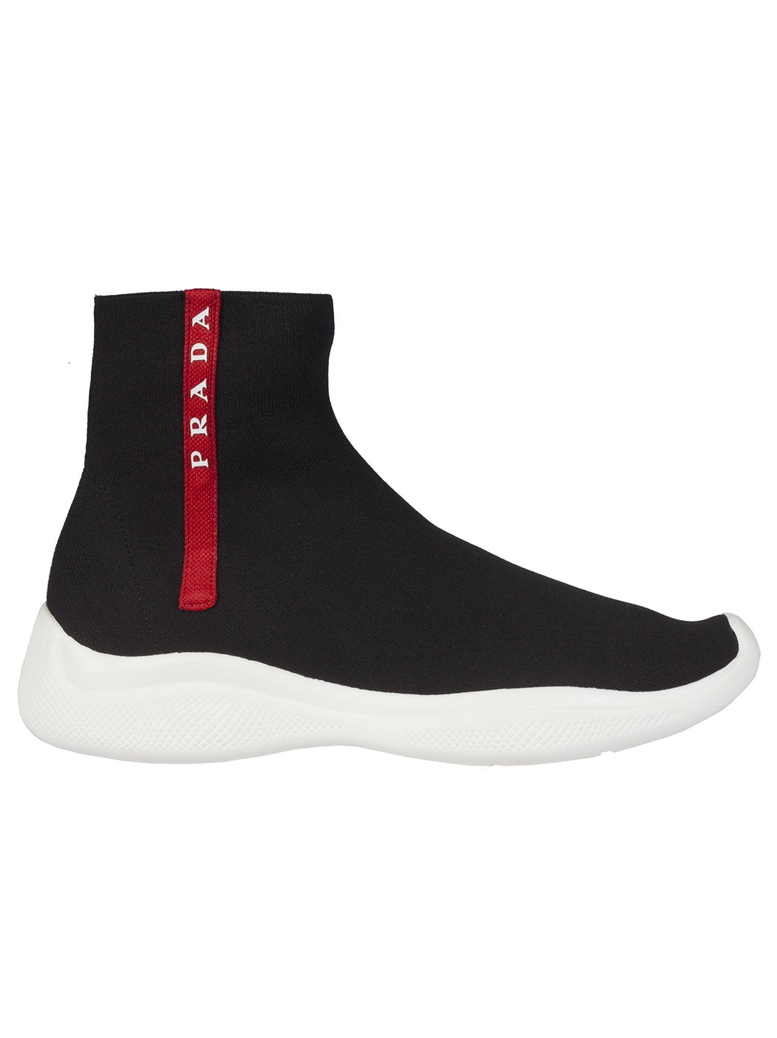 5b1ab5717cfc Prada Linea Rossa Prada Linea Rossa Knitted Hi-top Sneakers - Nero ...