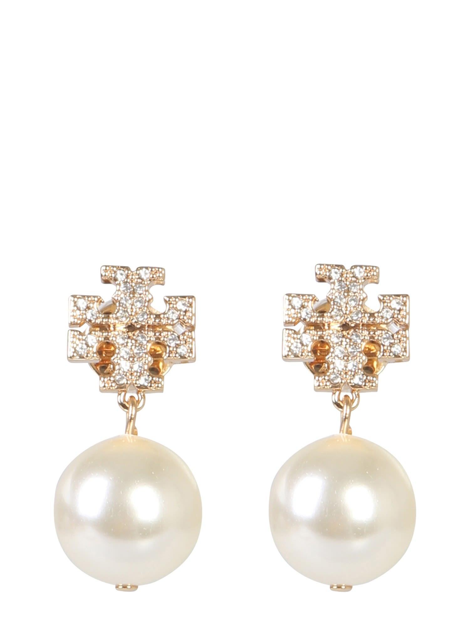 c4f9d290edf885 Tory Burch Tory Burch Crystal Logo And Pendant Pearl Earrings - ORO ...