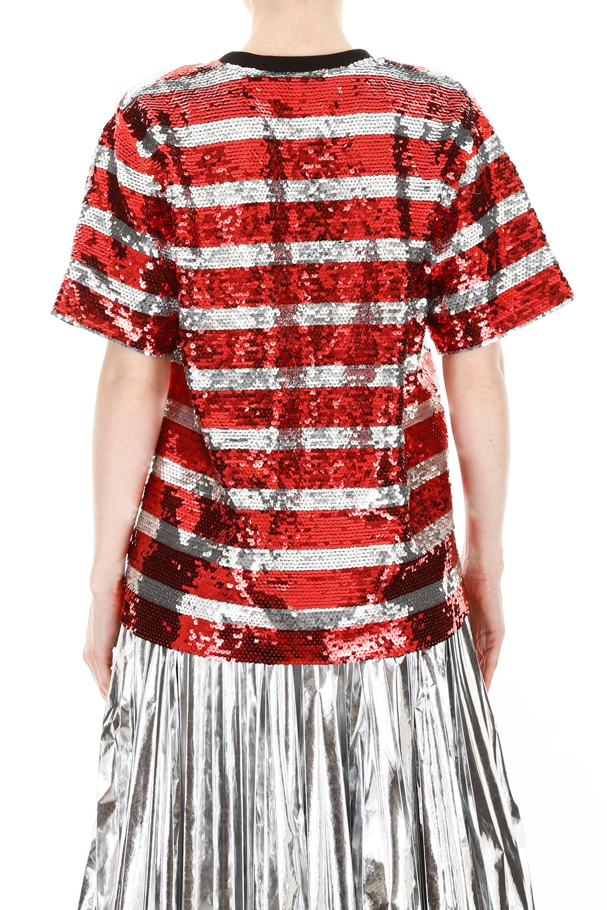 f919dfbf1b3be6 ... MSGM Sequins Striped Blouse With Logo - STRIPED RED WHITE (Red) ...