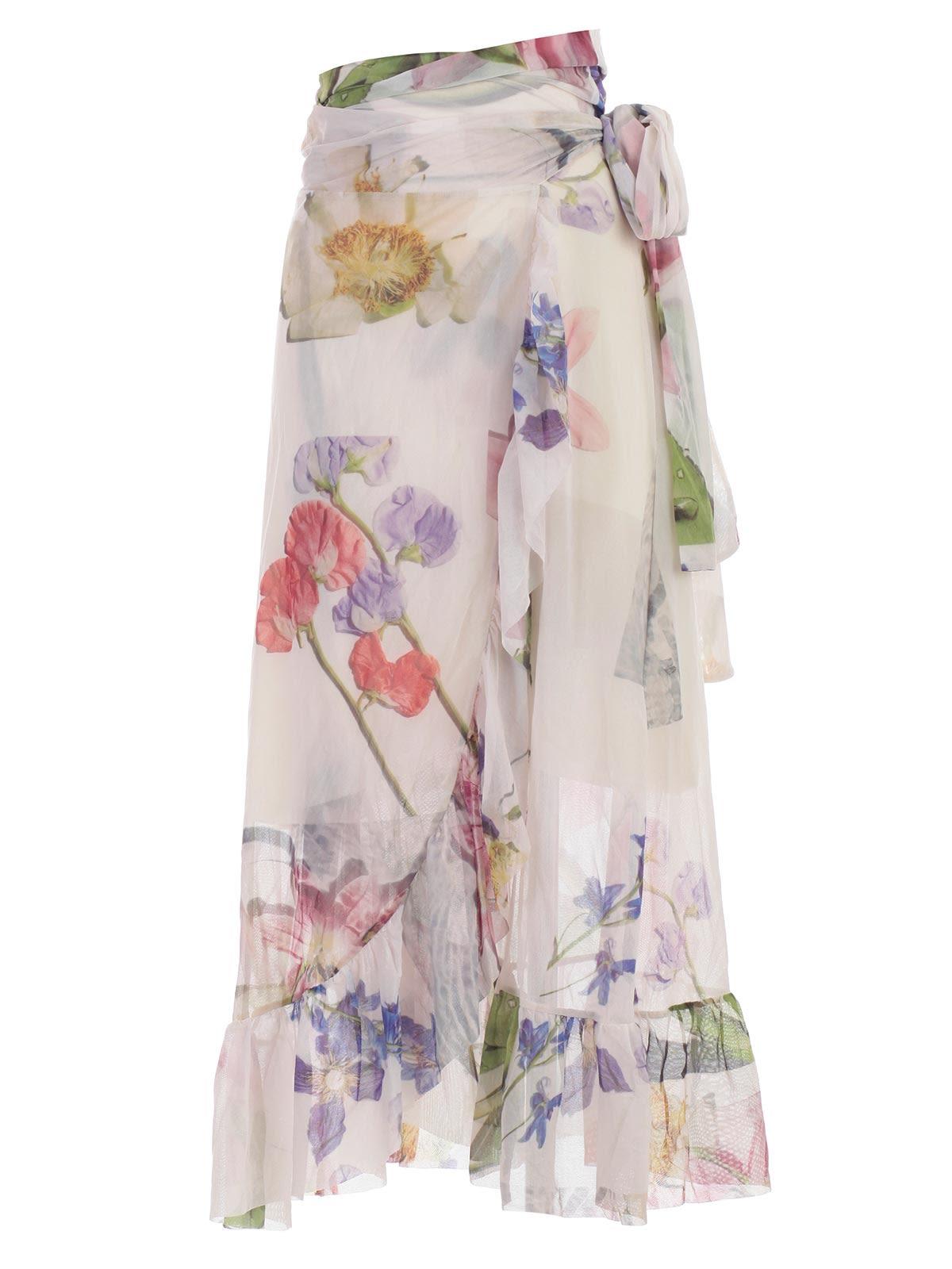7aa186fe24 Ganni Ganni Floral Wrap Skirt - Bright White - 10904791