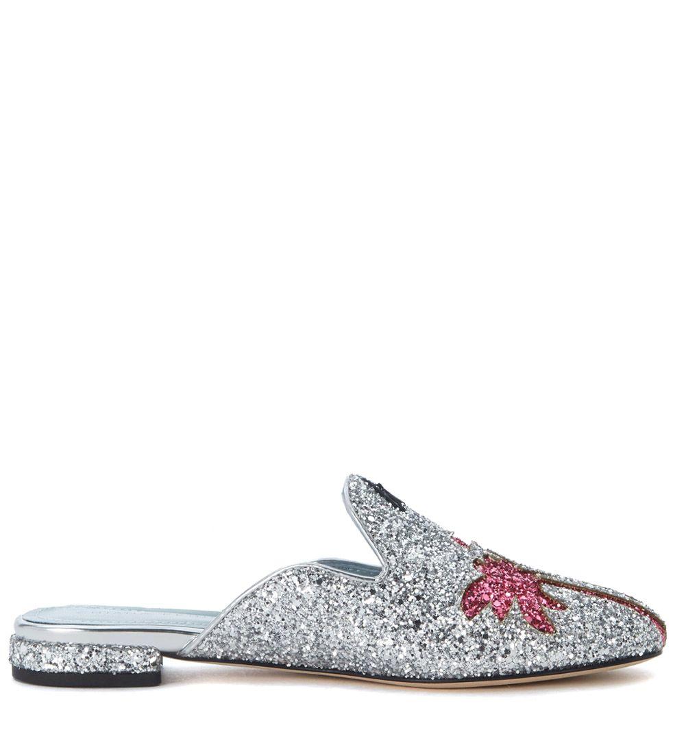 c3aec7e0b3b2 Chiara Ferragni Chiara Ferragni Suite Silver Glitter Mules - ARGENTO ...