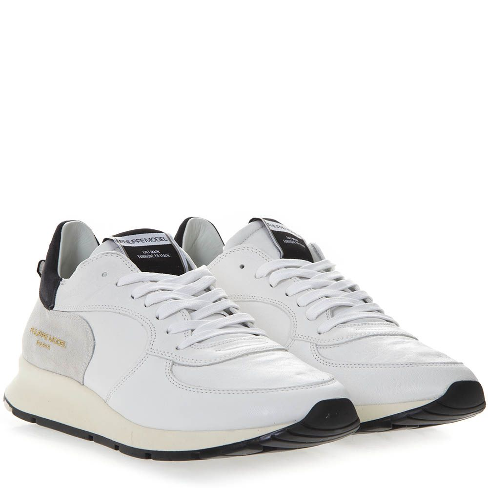 e7804ec5a8f1 ... Philippe Model White Leather And Suede Sneakers With Side Logo Engraved  - Black ...