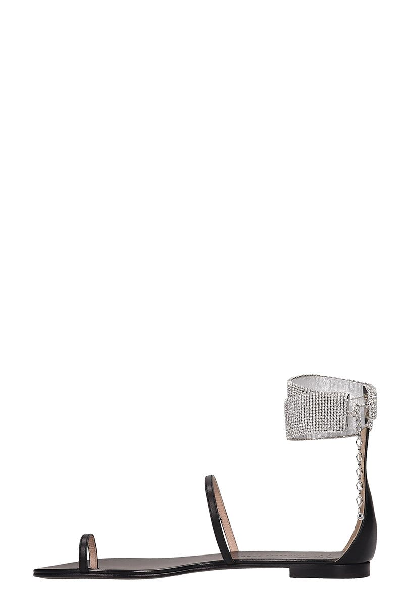 Giuseppe Zanotti Shoes Giuseppe Zanotti Black Leather Flats Sandals