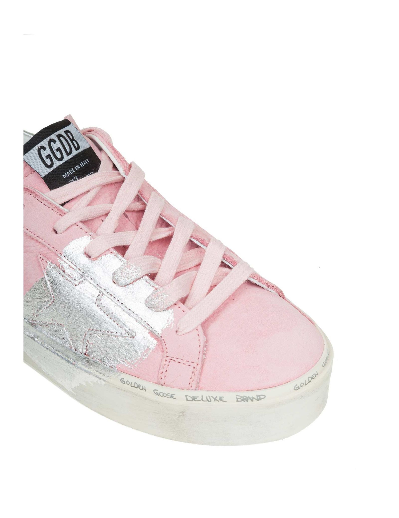 606daa8450cd ... Golden Goose Hi Star Sneakers In Nappa With Star In Silver Contrast -  Basic