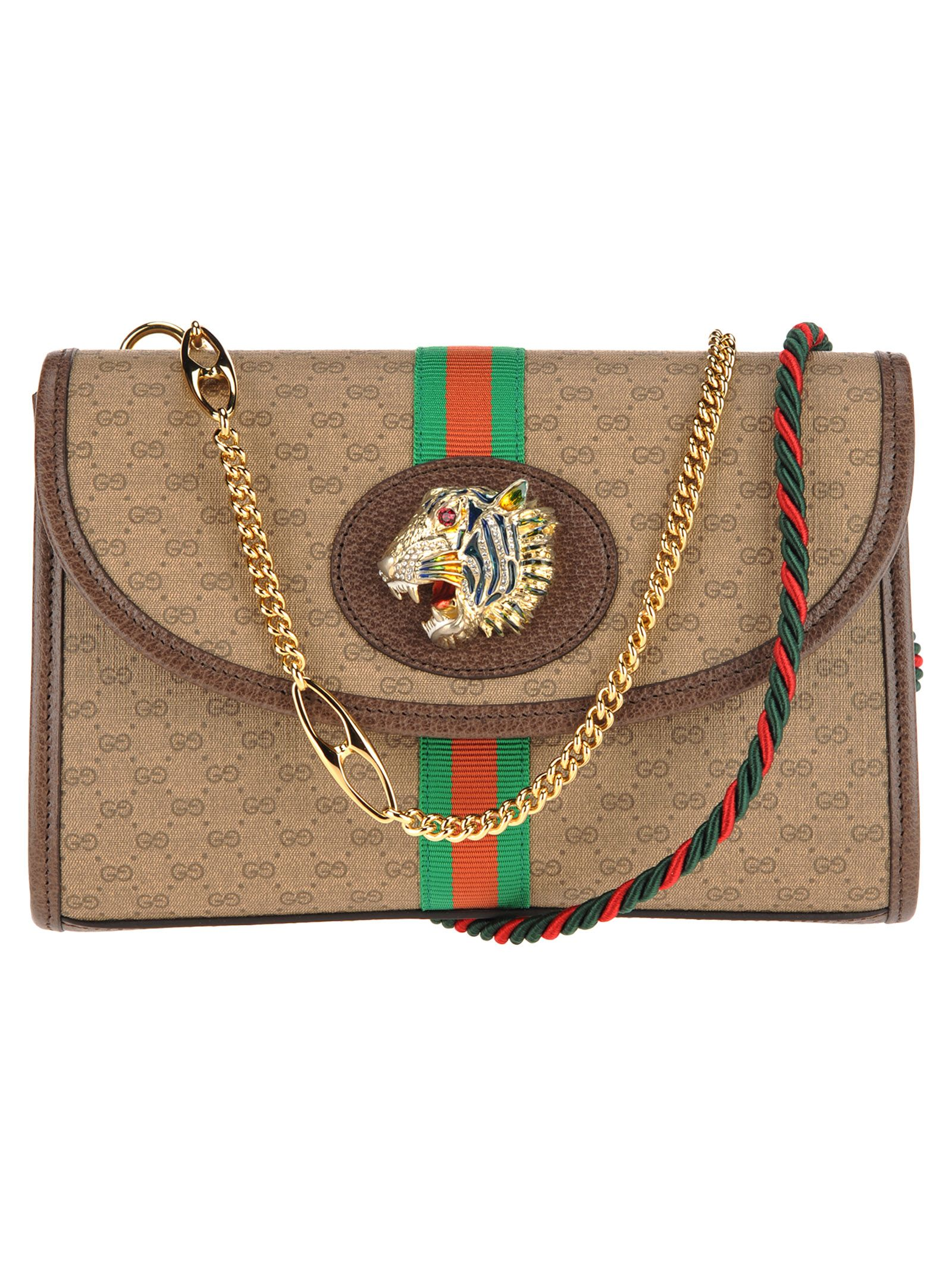 0c6082123b1 Gucci Gucci Rajah Supreme Gg Chian Bag Small - BEIGE EBONY ...