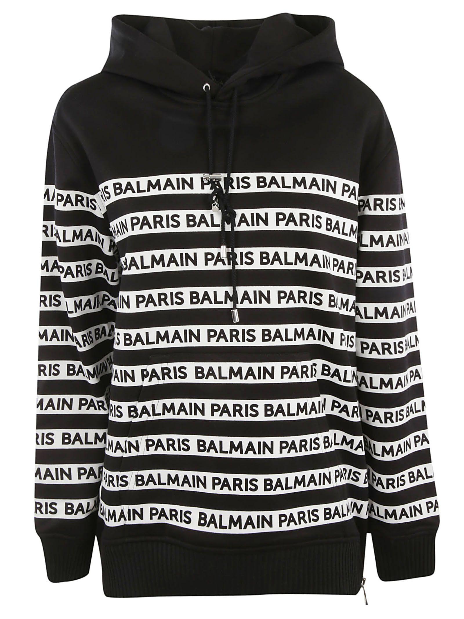 e6c9665ea096 Balmain Balmain Logo Print Tape Hoodie - Black - 10924196