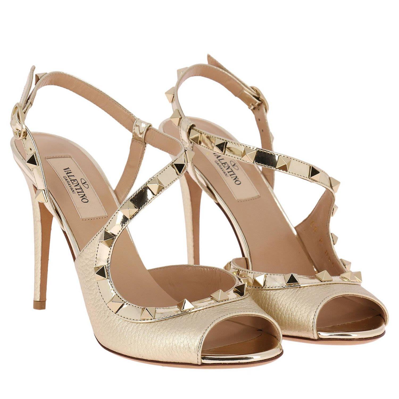 27746975ef4 ... Valentino Garavani Heeled Sandals Valentino Rockstud Slingback Heels  Peep-toe In Genuine Laminated Leather With ...