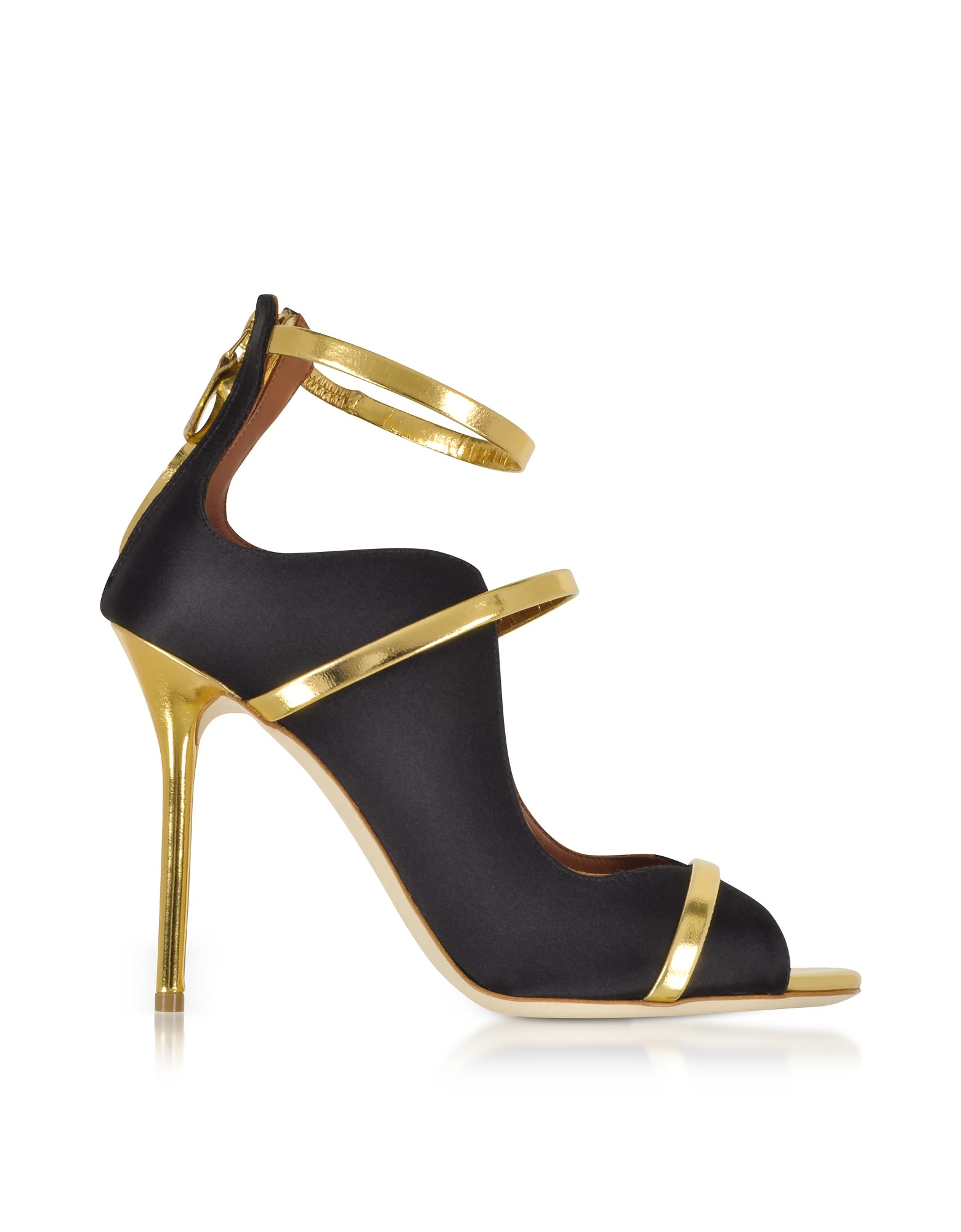 44036a23907 Malone Souliers Mika Black Satin And Gold Mirror Nappa High Heel Sandals -  Black ...