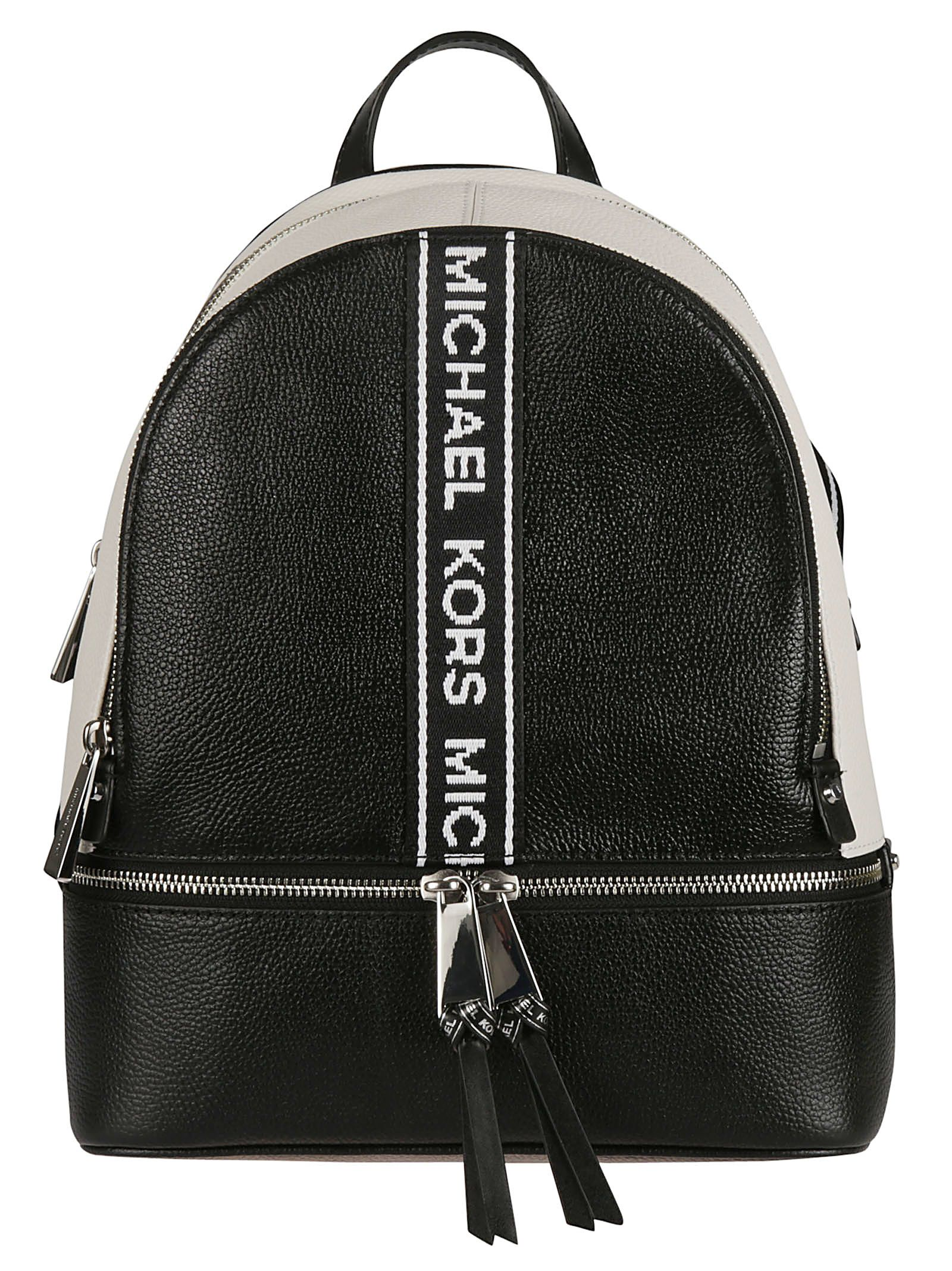 65371c6bb8bc Michael Kors Michael Kors Rhea Backpack - Black optic white ...