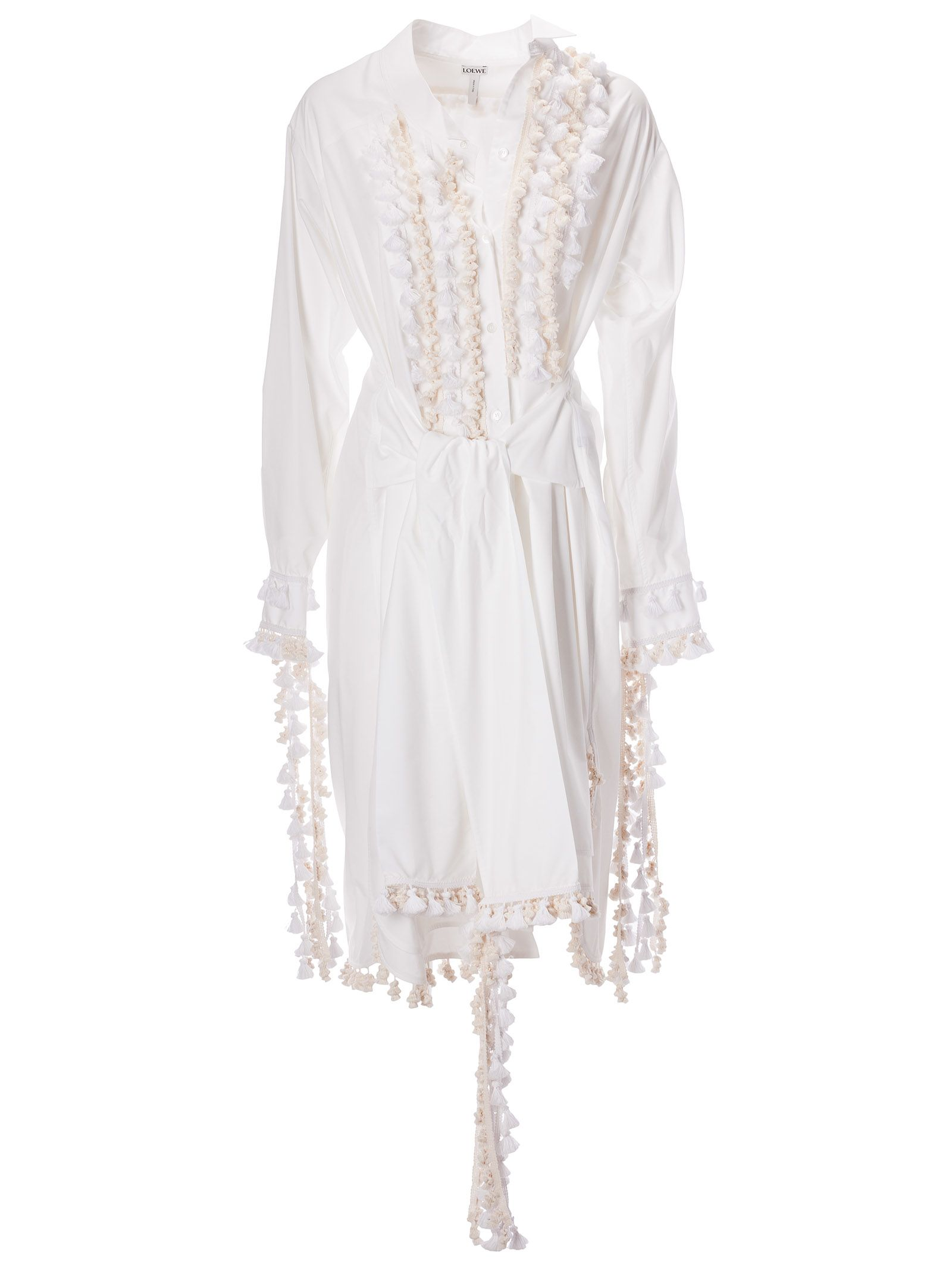 7fdc07d77de Loewe Loewe Tassel Embellished Shirt Dress - White - 10806481