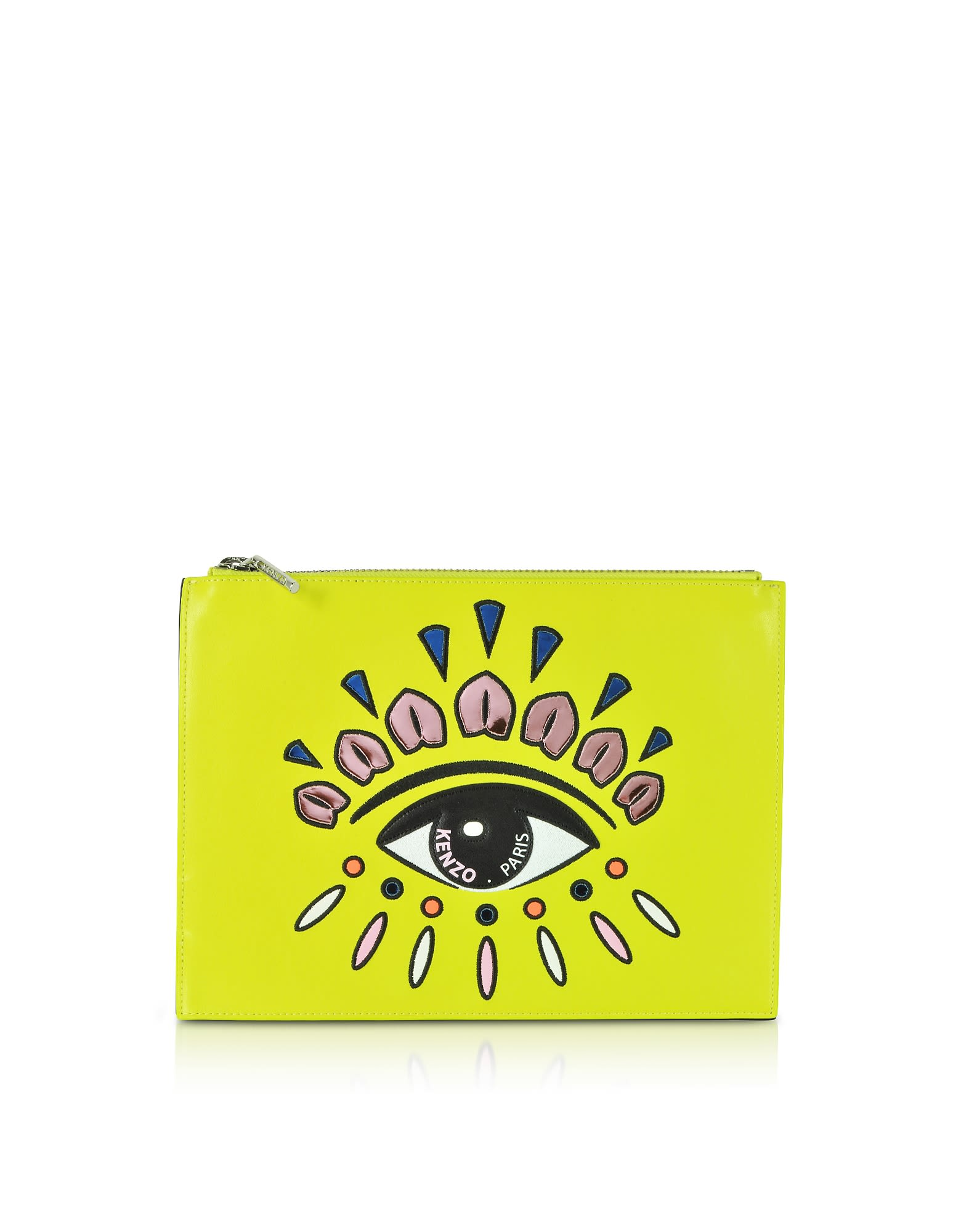 9c46922ea6d Kenzo Kenzo Eye Flat Split Leather Clutch - Yellow - 10861472