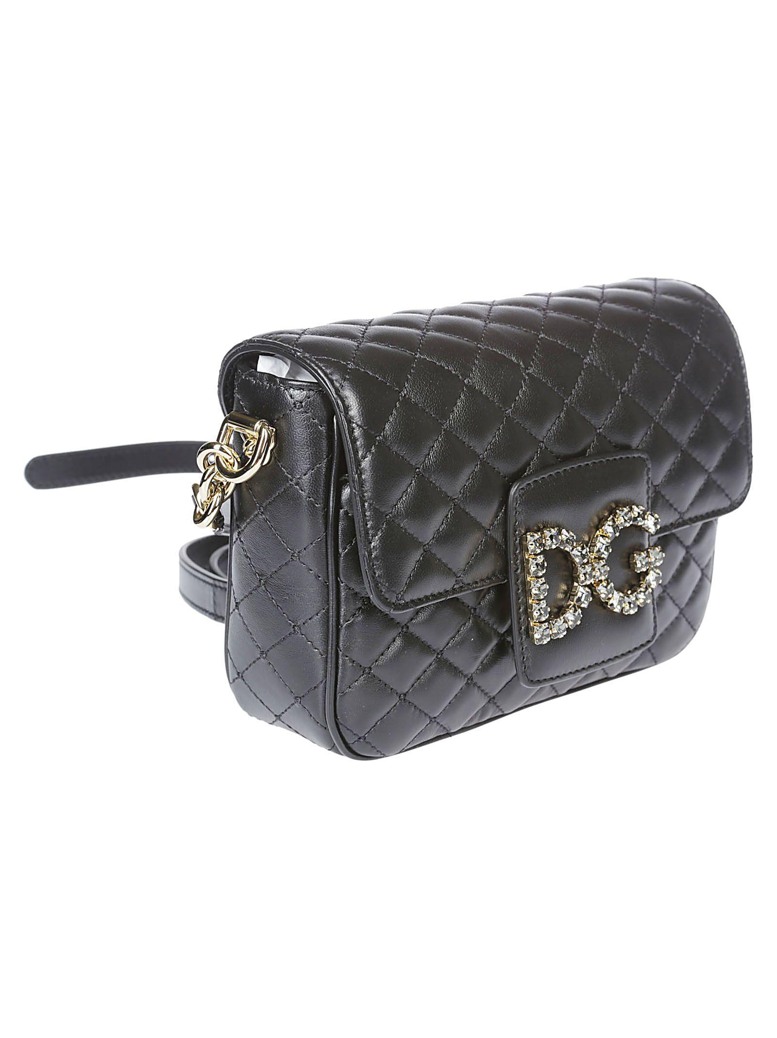 Dolce   Gabbana Dolce   Gabbana Quilted Embellished Logo Shoulder ... 195a2d2e325f5