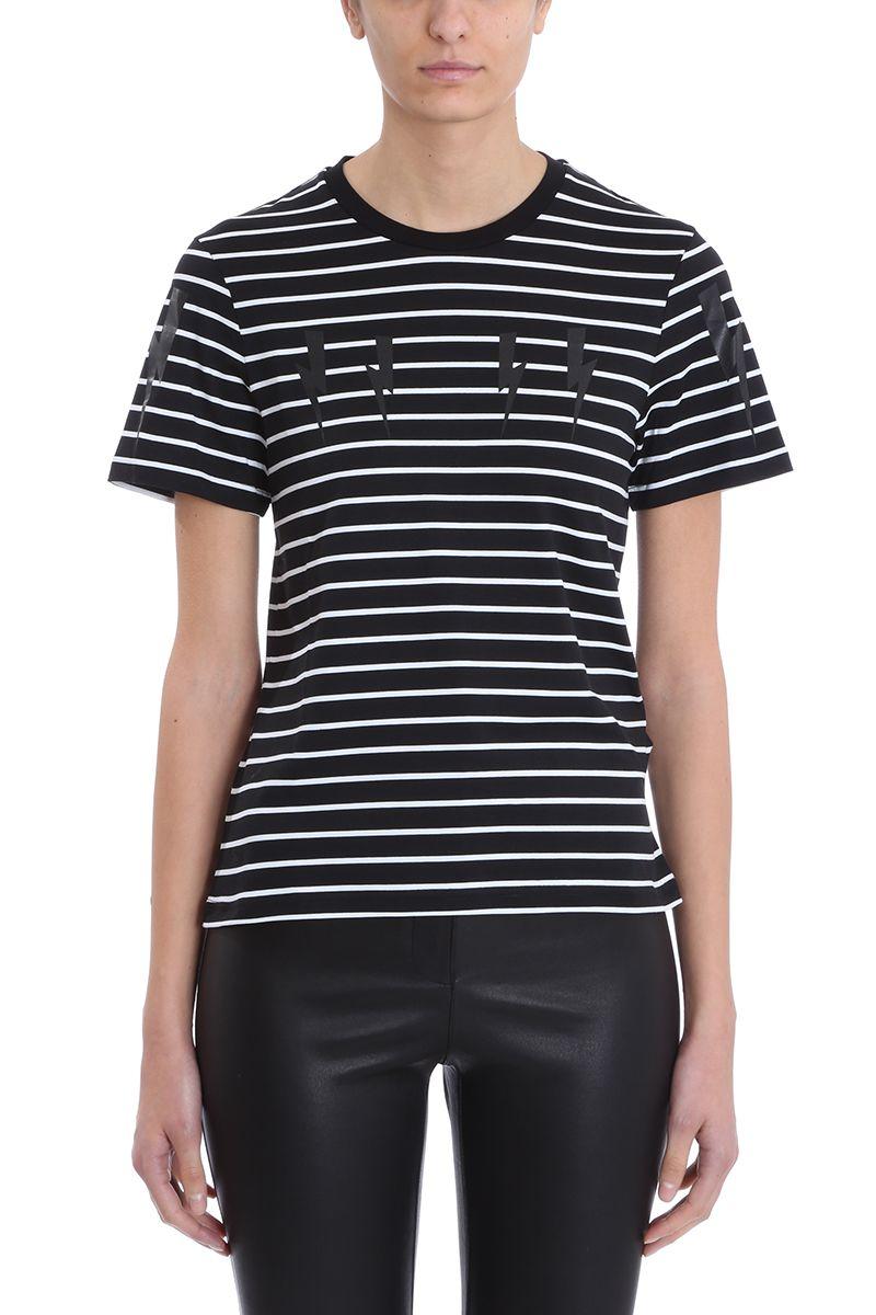 9525dce7 Neil Barrett Lightning Bolt Stripes Black And White Cotton T-shirt - black  ...