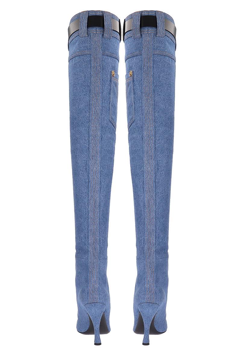 131ca4ae5965 Versace Versace Denim Thigh-high Boots - blue - 10935131 | italist