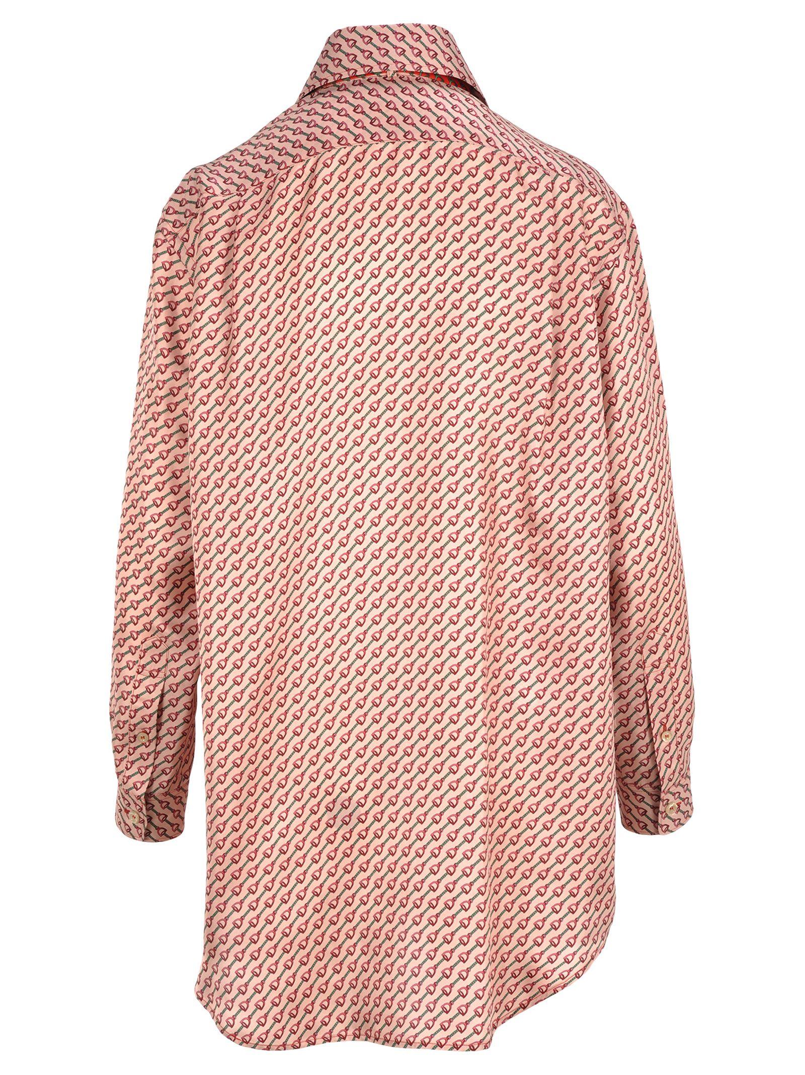 9b895ba7a Gucci Gucci Gucci Silk Shirt With Stirrups Print - PINK FUXIA MULTI ...