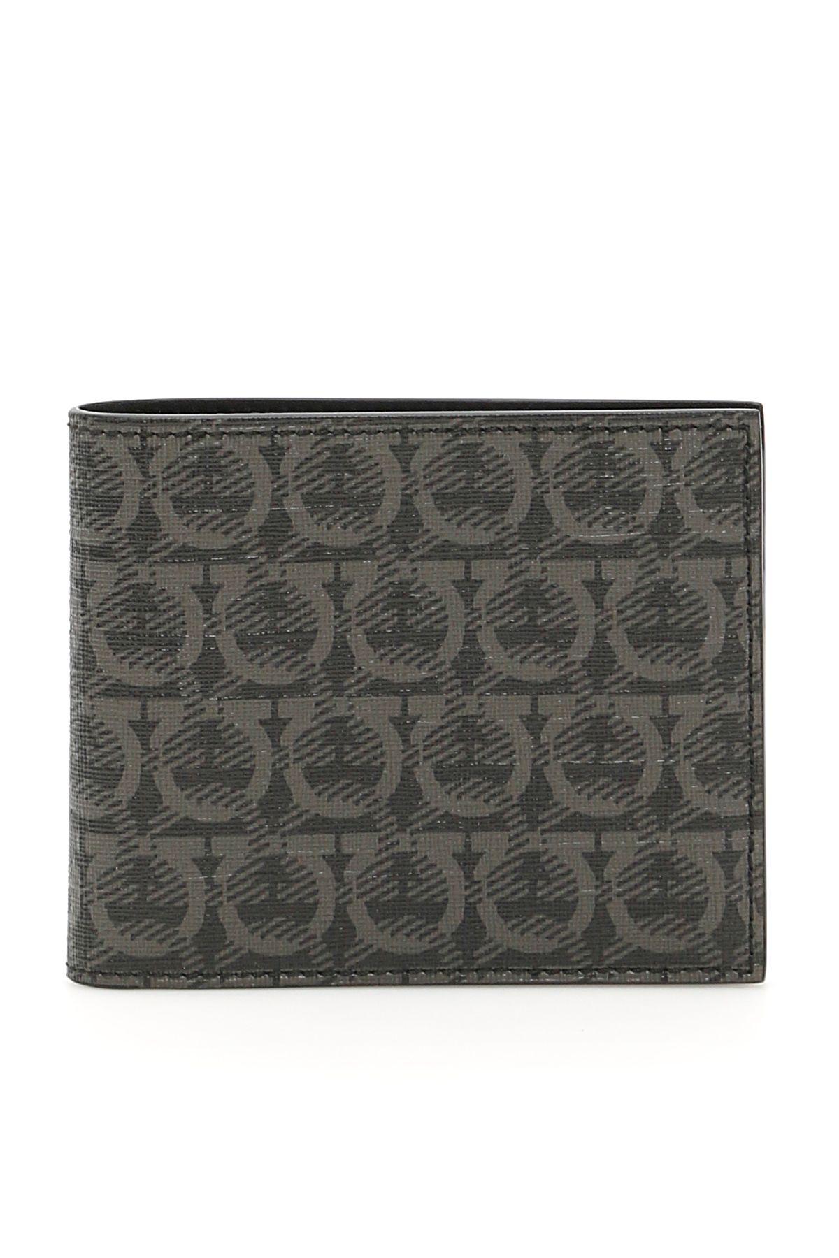 Salvatore Ferragamo Double Gancio Wallet In Nero Grigio (Black)