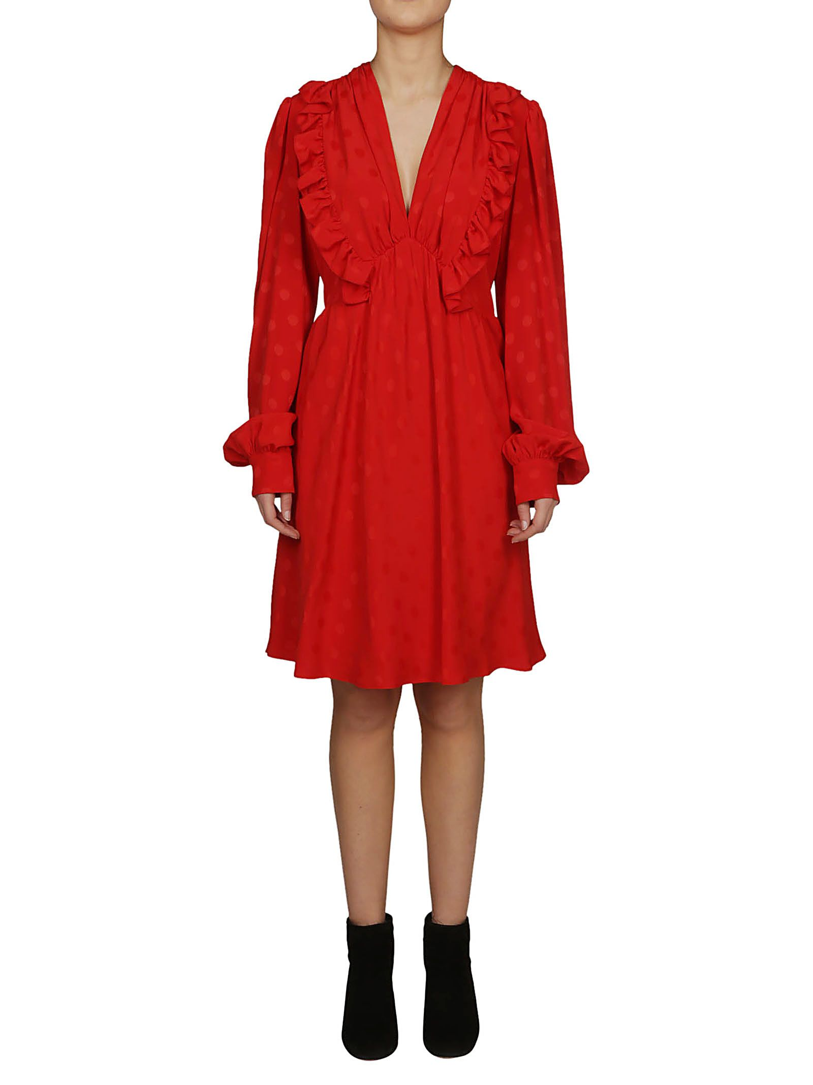 0f89771a297c MSGM Msgm Ruffled Detail V-neck Dress - Red - 10794530
